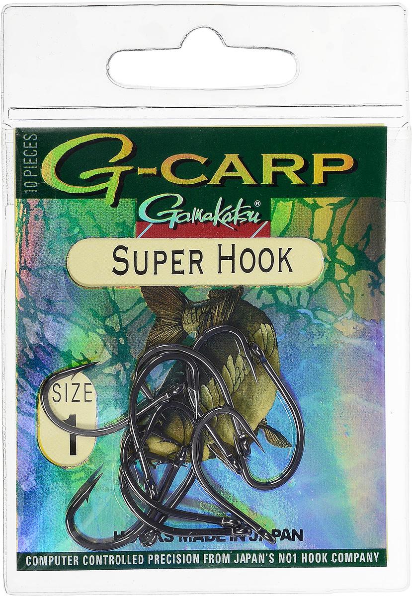 Крючок рыболовный Gamakatsu G-Carp. Super Hook, №1, 10 штG-Bait № 24Крючок Gamakatsu G-Carp. Super Hook предназначен для применения в составе волосяных оснасток с тонущими насадками, сборными и балансированными на чистых участках дна. Универсальная форма крюка позволяет применять его не только в составе монтажей, но и насаживать наживку непосредственно на него. Областью применения является как стоячая вода, так и течение. Не имеют бокового отгиба, острие прямое, без подгиба внутрь.На сегодняшний день рыболовные крючки Gamakatsu являются лучшими по качеству в Японии и Европе. Все крючки выполняются из очень прочной стальной проволоки. Жала крючков имеют химическую заточку. Вид крепления: ушко.Размер крючка: №1.