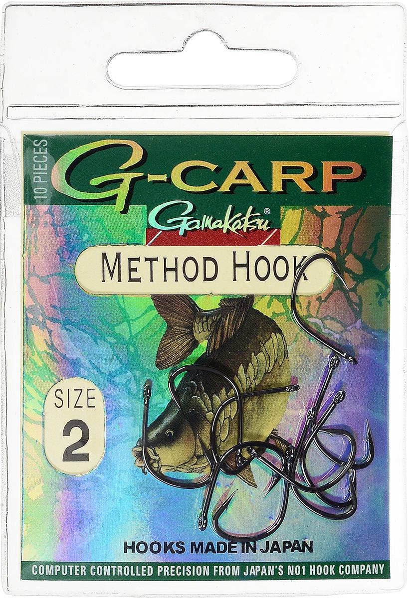Крючок рыболовный Gamakatsu G-Carp. Method Hook, №2, 10 шт14764501200Крючок Gamakatsu G-Carp. Method Hook предназначен, в первую очередь, для применения в составе донных оснасток, сопряженных с кормушками, не только в карповой, но и в фидерной ловле. Увеличенная ширина загиба позволяет эффективно работать с приманками, расположенными непосредственно на крючке. Применимы в волосяных оснастках. Отлично работают на участках дна с наличием мусора. Применимы в стоячей воде и на течении. Имеют боковой отгиб жала, направленного в сторону колечка, что обеспечивает высокую эффективность их применения. Прокованная проволока обеспечивает при небольших диаметрах большой резерв мощности.Вид крепления: кольцо.Размер крючка: №2.
