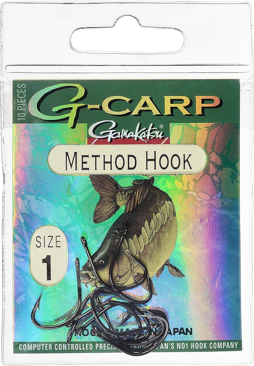 Крючок рыболовный Gamakatsu G-Carp. Method Hook, №1, 10 шт14665201600Крючок Gamakatsu G-Carp. Method Hook предназначен, в первую очередь, для применения в составе донных оснасток, сопряженных с кормушками, не только в карповой, но и в фидерной ловле. Увеличенная ширина загиба позволяет эффективно работать с приманками, расположенными непосредственно на крючке. Применимы в волосяных оснастках. Отлично работают на участках дна с наличием мусора. Применимы в стоячей воде и на течении. Имеют боковой отгиб жала, направленного в сторону колечка, что обеспечивает высокую эффективность их применения. Прокованная проволока обеспечивает при небольших диаметрах, большой резерв мощности.Вид крепления: кольцо.Размер крючка: №1.