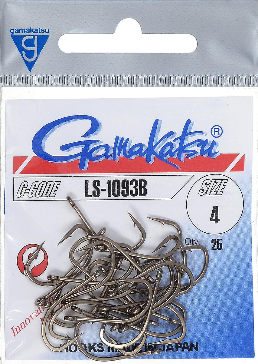 Крючок рыболовный Gamakatsu LS-1093B, размер 4, 25 шт14764501200Крючок Gamakatsu LS-1093B прекрасно подойдет для ловли крупной рыбы. Изделие изготовлено из высококачественной и прочной стали. Подходит для искусственных, растительных и животных насадок. Крючок идеально справляется с любой рыбой как на море, так и на спокойной воде. Размер: 4.Количество: 25 шт. Вид головки: кольцо.