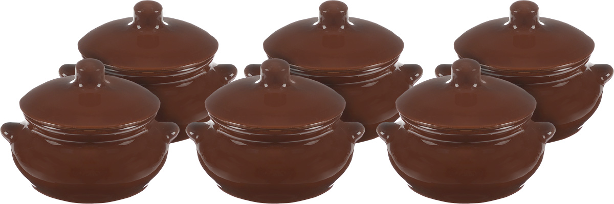 Набор горшочков для запекания Борисовская керамика Лакомка, цвет: темно-коричневый, 500 мл, 6 шт391602Набор Борисовская керамика Лакомка состоит из 6 горшочков для запекания с крышками. Изделия выполнены из высококачественной керамики. Уникальные свойства красной глины и толстые стенки изделия обеспечивают эффект русской печи при приготовлении блюд. Блюда, приготовленные в керамическом горшке, получаются нежными и сочными. Вы сможете приготовить мясо, сделать томленые овощи и все это без капли масла. Это один из самых здоровых способов готовки. Можно использовать в духовке и микроволновой печи. Диаметр горшочка (по верхнему краю): 10 см.Высота стенок: 6,5 см.