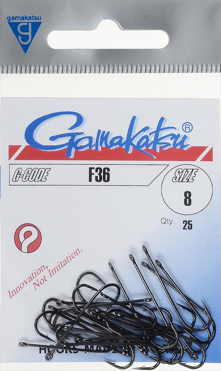 Крючок рыболовный Gamakatsu F36, размер 8, 25 шт310-04006Крючок Gamakatsu F36 прекрасно подойдет для ловли рыбы. Изделие изготовлено из высококачественной стали и имеет длинное цевье. Данная модель хорошо подходит для вязания мушек. Крючок идеально справляется с любой рыбой как на море, так и на спокойной воде. Размер: 8.Количество: 25 шт. Вид головки: кольцо.