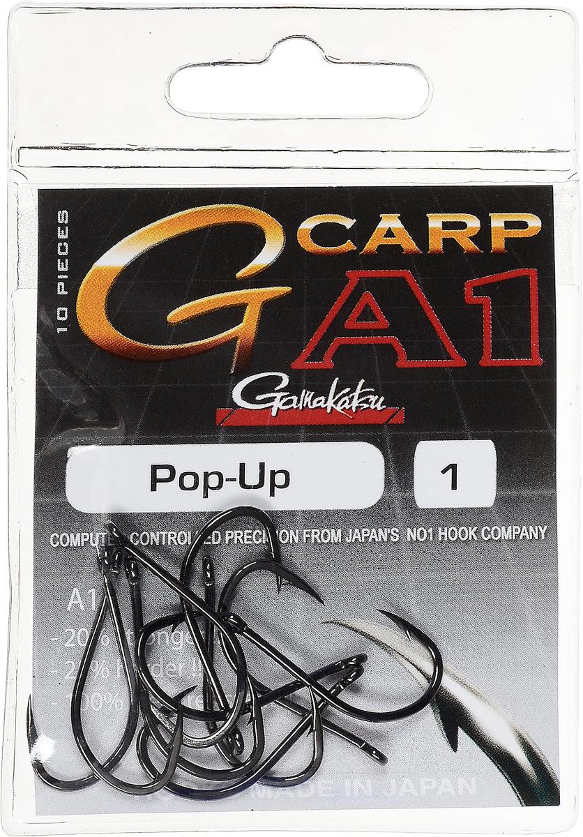 Крючок рыболовный Gamakatsu A1 G-Carp Pop-up, размер 1, 10 шт010-01199-23Крючок Gamakatsu A1 G-Carp Pop-up подходит для ловли карпа. Изделие изготовлено из стали повышенной прочности. Крючок долго остается острым и легко впивается даже в твердую кость. Крючок имеет боковой отгиб, жало подогнуто. Применяется в составе волосяных оснасток с тонущими насадками, а также с насадками типа снеговик. Подходит для растительных и животных насадок. Крючок прекрасно справляется на участках дна с наличием донного мусора. Размер: 1.Количество: 10 шт. Вид головки: кольцо.