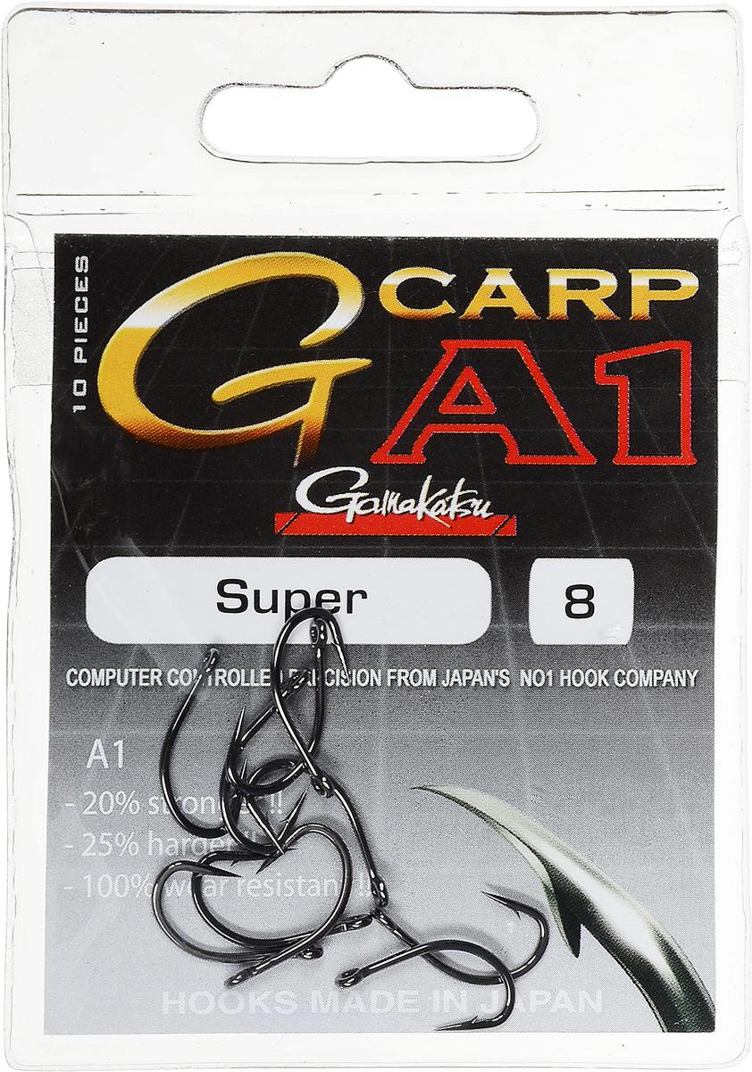 Крючок рыболовный Gamakatsu A1 G-Carp Super, размер 8, 10 шт14717700200Крючок Gamakatsu A1 G-Carp Super подходит для ловли карпа. Изделие изготовлено из стали повышенной прочности. Крючок долго остается острым и легко впивается даже в твердую кость. Крючок не имеет бокового отгиба, острие прямое, без подгиба. Подходит для растительных и животных насадок. Крючок прекрасно справляется с любой рыбой как на море, так и на спокойной воде. Размер: 8.Количество: 10 шт. Вид головки: кольцо.