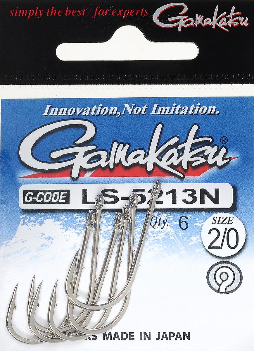 Крючок рыболовный Gamakatsu LS-5213N, размер 2/0, 6 шт14792600200Крючок Gamakatsu LS-5213N предназначен для ловли крупной рыбы. Изделие изготовлено из высококачественной и прочной стали. Крючок прекрасно справляется с любой рыбой как на море, так и на спокойной воде. Размер: 2/0.Количество: 6 шт. Вид головки: кольцо.