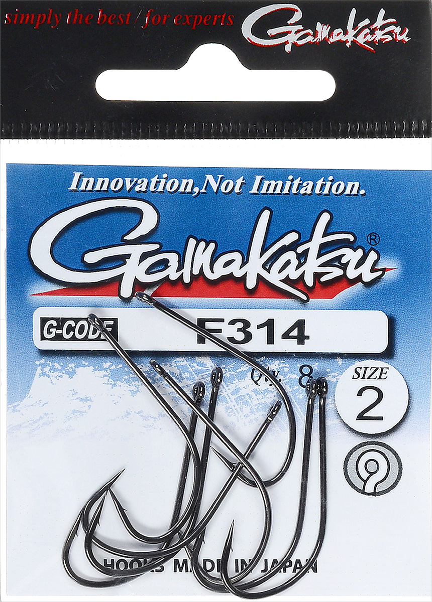 Крючок рыболовный Gamakatsu F314, размер 2, 8 шт30066Крючок Gamakatsu F314 предназначен для ловли крупных карпов. Изделие изготовлено из высококачественной и прочной стали. Подходит для растительных и животных насадок. Крючок прекрасно справляется с любой рыбой как на море, так и на спокойной воде. Размер: 2.Количество: 8 шт. Вид головки: кольцо.