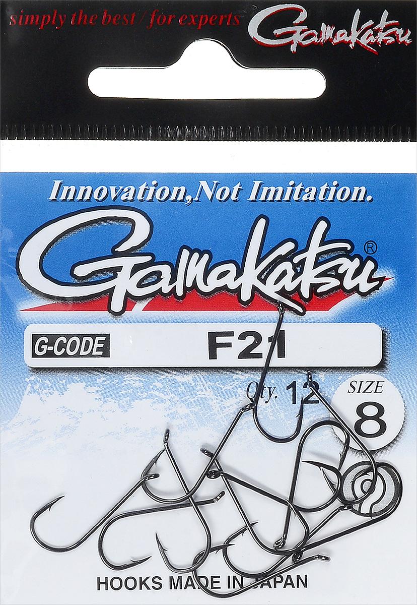 Крючок рыболовный Gamakatsu F21, размер 8, 12 шт8570BN-01-DКрючок Gamakatsu F21 предназначен для ловли карпа. Изделие изготовлено из высококачественной и прочной стали. Подходит для растительных и животных насадок. Головка крючка изогнута. Крючок прекрасно справляется с любой рыбой как на море, так и на спокойной воде. Размер: 8.Количество: 12 шт. Вид головки: кольцо.