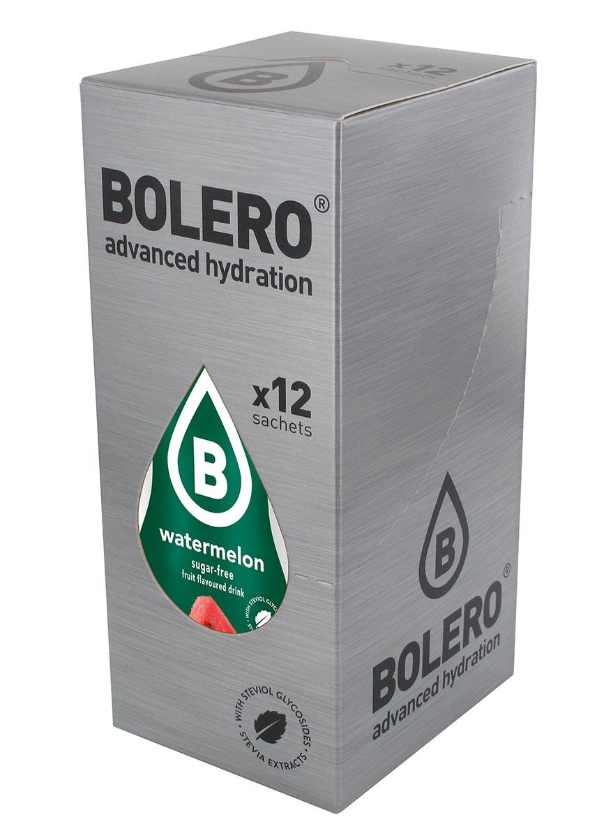 Напиток быстрорастворимый Bolero Watermelon / Арбуз, 9 г х 12 штDRIW.611.INЧто же такое Bolero Drinks?В первую очередь это - вкусовая добавка без сахара, без глютена, без жиров и углеводов.Bolero Drinks – это мгновенные напитки, которые не содержат сахар, не содержат лактозы, не содержат консервантов, не содержат глютен, не содержат искусственных вкусовых и цветообразующих добавок!!!!!!! Каждый пакетик Bolero Drinks на Стивии весит 9 г, и его достаточно, чтобы подготовить 1,5-2 литра сока, в зависимости от вашего желания. Эти маленькие пакетики очень удобно носить с собой, и подготовка натурального напитка проста - просто добавьте в 1,5-2 литра холодной воды и размешайте. Но Bolero Drinks – это не только напитки. Это великолепное дополнение к каше, творогу и другим субстанциям. Состав: Без добавления ГМО. Не содержит Глютен, без сахара. Кислоты: лимонная кислота, яблочная кислота, мальтодекстрин; ароматические и вкусовые вещества; L-аскорбиновая кислота. Натуральные ароматизаторы и подсластители: ацесульфам К, сукралоза,стевиогликозиды (экстракты стевии), регулятор кислотности: тринатрийцитрат. Разрыхлитель: трикальцийфосфат; Загустители: гуаровая камедь, гуммиарабик (аравийская камедь).