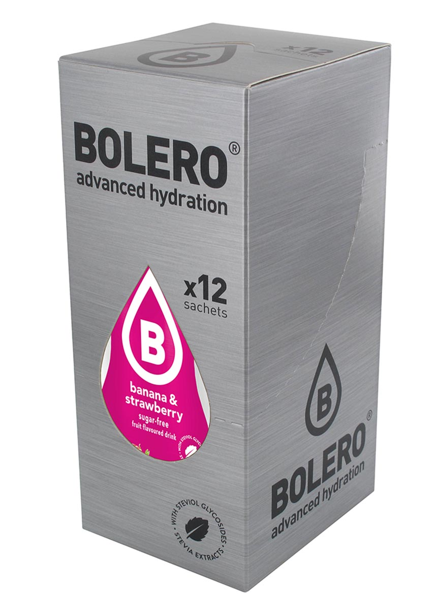 Напиток быстрорастворимый Bolero Banana & Strawberry / Банан и клубника, 9 г х 12 штDRIW.611.INЧто же такое Bolero Drinks?В первую очередь это - вкусовая добавка без сахара, без глютена, без жиров и углеводов.Bolero Drinks – это мгновенные напитки, которые не содержат сахар, не содержат лактозы, не содержат консервантов, не содержат глютен, не содержат искусственных вкусовых и цветообразующих добавок!!!!!!! Каждый пакетик Bolero Drinks на Стивии весит 9 г, и его достаточно, чтобы подготовить 1,5-2 литра сока, в зависимости от вашего желания. Эти маленькие пакетики очень удобно носить с собой, и подготовка натурального напитка проста - просто добавьте в 1,5-2 литра холодной воды и размешайте. Но Bolero Drinks – это не только напитки. Это великолепное дополнение к каше, творогу и другим субстанциям. Состав: Без добавления ГМО. Не содержит Глютен, без сахара. Кислоты: лимонная кислота, яблочная кислота, мальтодекстрин; ароматические и вкусовые вещества; L-аскорбиновая кислота. Натуральные ароматизаторы и подсластители: ацесульфам К, сукралоза,стевиогликозиды (экстракты стевии), регулятор кислотности: тринатрийцитрат. Разрыхлитель: трикальцийфосфат; Загустители: гуаровая камедь, гуммиарабик (аравийская камедь).