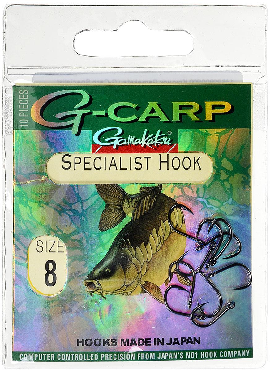 Крючок рыболовный Gamakatsu G-Carp. Specialist Hook, №8, 10 штG-Bait № 24Gamakatsu G-Carp. Specialist Hook - карповый крючок с жалом с углублением, кованым прочным толстым цевьем, круглым ушком и крючком-джигом.На сегодняшний день рыболовные крючки Gamakatsu являются лучшими по качеству в Японии и Европе. Все крючки выполняются из очень прочной стальной проволоки. Жала крючков имеют химическую заточку. Вид крепления: ушко.Размер крючка: №8.