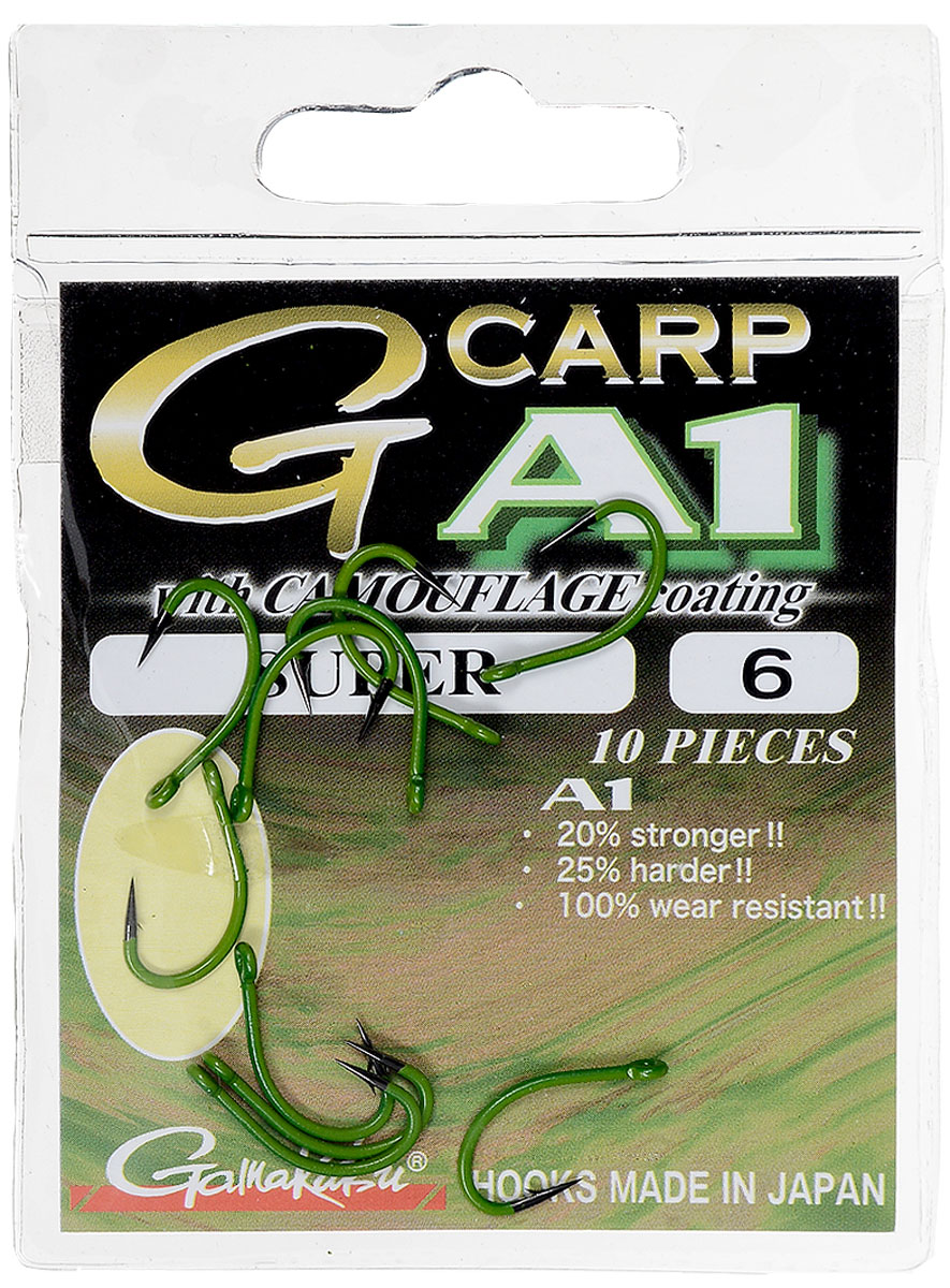 Крючок рыболовный Gamakatsu A1 G-Carp Camou Green Super, размер 6, 10 шт14902501200Крючок Gamakatsu A1 G-Carp Camou Green Super подходит для ловли карпа. Изделие изготовлено из стали повышенной прочности. Крючки долго остаются острыми и легко впиваются даже в твердую кость. Изделие окрашено в зеленый цвет, что удобно для ловли в водорослях. Подходит для растительных и животных насадок. Крючок прекрасно справляется с любой рыбой как на море, так и на спокойной воде. Размер: 6.Количество: 10 шт. Вид головки: кольцо.