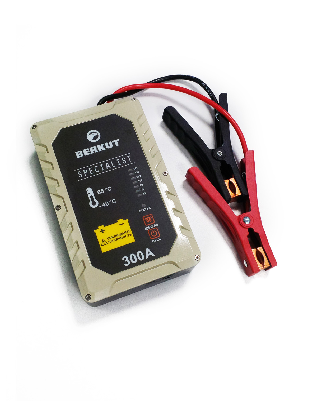 Пуско-зарядное устройство Berkut. JSC30020736Это специальное пусковое автомобильное устройство конденсаторного типа предназначено для аварийного запуска двигателя транспортного средства в случае неисправной АКБ. Главным достоинством устройства, отличающим его от прочих аналогов, является отсутствие аккумуляторов. Вместо них применены электроконденсаторы сверхбольшой емкости (ионисторы). Применение конденсаторного накопителя заряда позволяет гарантированно запустить двигатель автомобиля как с основательно разряженной АКБ, причем даже в том случае, когда ее остаточная емкость составляет всего 5%, так и без аккумулятора с предварительной зарядкой от АКБ или розетки прикуривателя другого автомобиля, а также от зарядного устройства с разъемом микро USB. Пусковое устройство рекомендовано для любых типов транспортных средств с бензиновым двигателем до 3000 см.куб. и дизельным двигателем до 2500 см.куб и напряжением бортовой сети 12В. Технические характеристики:- Напряжение на клеммах: 12 В- Пусковой ток: 300 A- Тип конденсаторов: пусковые, импульсные- Время зарядки от АКБ: до 5 мин- Время зарядки от прикуривателя 12V: 15-20 мин- Время зарядки от Мини USB 5V: 2-3 часа- Количество попыток запуска при полной зарядке: не более одного пуска- Диапазон температур для запуска и хранения: -40 °C +65 °C- Вход Micro USB: 5В (2000 мА)- Вход для зарядки: 12В (10 А) Функциональные особенности:- Не требует подзарядки во время хранения- Готов к использованию вне зависимости от продолжительности хранения- Режим для запуска двигателя автомобиля без аккумулятора- Специальный режим запуска дизеля с предварительным прогревом свечей- Встроенный вольтметр для определения напряжение аккумулятора автомобиля- Отсутствие падение емкости заряда с понижением температур- Нет снижения емкости заряда связанные со старением устройства- Защита от переполюсовки (неправильной полярности)- Защита от короткого замыкания- Цикл заряд/разряд до 10 000 раз- Срок годности - более 10 лет