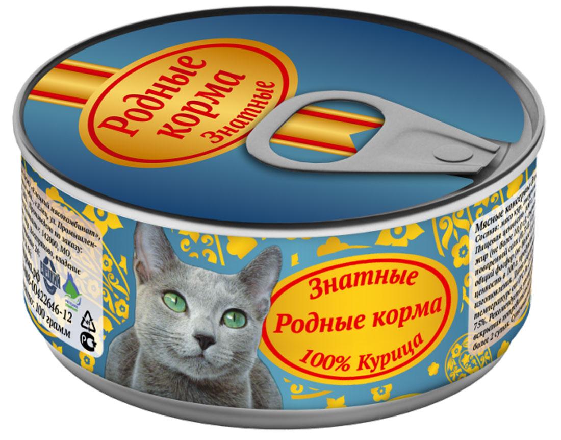 Консервы для кошек Родные корма Знатные, с курицей, 100 г0120710Консервы для кошек Родные Корма Знатные - это полнорационный консервированныйкорм в виде нежных мясных кусочков из говядины. Корм изготовлен из натурального сырья. Несодержит сои, ароматизаторов, искусственных красителей, ГМО. Имеет консистенцию мелко рубленного фарша в желе.Состав: мясо кур, таурин, желирующая добавка, йодированная соль, вода.Пищевая ценность в 100 г продукта: сырой протеин не менее 8 г, сырой жир не более 10 г, сырая зола не более 2 г, таурин 0,2 г, массовая доля поваренной соли 0,3-0,5 г, влага не более - 82%.Минеральные вещества: общий фосфор не более 0,4 г, кальций не более 0,3 г.Энергетическая ценность в 100 г продукта: 158 ккал.Суточная норма 25-35 г на 1 кг веса животного.Товар сертифицирован.