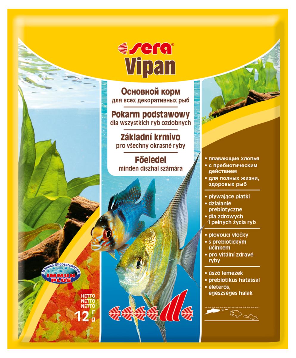 Корм для рыб Sera Vipan, 12 г0120710Корм для рыб Sera Vipan - хорошо сбалансированный основной корм в виде хлопьев, содержащий более 40 ингредиентов. Идеально подходит для ежедневного кормления всех декоративных рыб в общих аквариумах. Сбалансированный состав удовлетворяет потребности множества видов. Бережная обработка гарантирует сохранение ценных ингредиентов (например, жирных кислот Омега, витаминов и минералов). Белки и другие питательные вещества делают этот корм высокопитательным и легко перевариваемым рыбами. Формула Vital-Immun-Protect гарантирует вашим рыбам прекрасное здоровье, укрепление иммунитета и обилие жизненных сил. Специальный метод приготовления позволяет хлопьям сохранять свою форму в течение длительного времени, не загрязняя воду. Хлопья в то же время очень нежны и поэтому охотно поедаются рыбой. Ингредиенты: рыбная мука, пшеничная мука, пивные дрожжи, казеинат кальция, гаммарус, яичный порошок, рыбий жир, маннанолигосахарид (MOS 0,4%), спирулина, травы, люцерна, крапива, мука из зеленых губчатых моллюсков, водоросли, зелень петрушки, перец, шпинат, чеснок, морковь, красители, разрешенные в ЕС. Аналитический состав: протеины 46,2%, жиры 8,9%, клетчатка 2,3%, зола 11,9%, влажность 6,7%. Витамины и провитамины на кг: витамин А 37000МЕ, витамин В1 35 мг, витамин В2 90 мг, витамин С 550 мг, витамин D3 1800МЕ, витамин Е 120 мг. Товар сертифицирован.