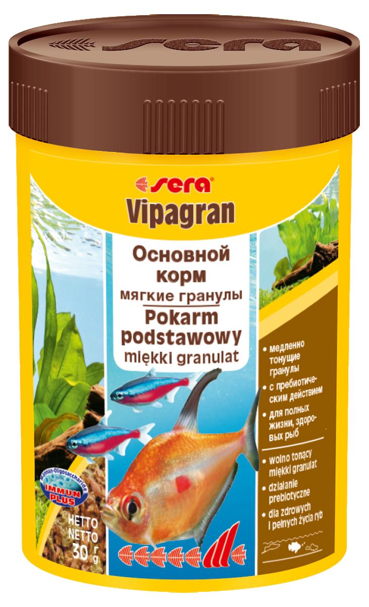 Корм для рыб Sera Vipagran, 100 мл (30 г)0201Корм для рыб Sera Vipagran - основной корм для всех видов рыб, главным образом кормящихся в средних слоях воды. Корм выполнен в виде медленно тонущих мягких гранул. Корм медленно опускается на дно, что позволяет полакомиться всем рыбам и предотвращает излишнее засорение грунта. Благодаря особому процессу обработки гранулы становятся мягкими сразу после попадания в воду и не разбухают в желудке рыб. Благодаря мягкой эластичной структуре частиц этот вкусный сбалансированный корм также подходит для рыб с очень маленьким ртом и узкой глоткой. Они могут откусывать от гранул небольшие кусочки.Тщательно подобранные ингредиенты корма с пребиотическим действием способствуют здоровью и жизнестойкости рыб. Гранулы великолепно усваиваются организмом рыб. Формула Vital-Immun-Protect гарантирует вашим рыбам прекрасное здоровье, укрепление иммунитета и обилие жизненных сил. Ингредиенты: кукурузный крахмал, пшеничная клейковина, рыбная мука, цельный яичный порошок, казеинат кальция, пшеничная мука, рыбий жир (49% Омега жирных кислот), пивные дрожжи, спирулина, пшеничные зародыши, растительное сырье, люцерна, крапива, петрушка, гаммарус, морские водоросли, паприка, маннанолигосахариды (0,4%), шпинат, морковь, водоросль гематококкус, зеленые мидии, чеснок. Аналитический состав: протеин 41,9%, жиры 8,7%, клетчатка 3,5%, влажность 5,0%, зольные вещества 4,0%.Витамины и провитамины: витамин A 37.000 МЕ/кг, витамин D3 1.800 МЕ/кг, витамин E (D, L-а-tocopheryl acetate) 120 мг/кг, витамин B1 35 мг/кг, витамин B2 90 мг/кг, витамин C (L-ascorbyl monophosphate) 550 мг/кг. Содержит пищевые красители, допустимые в ЕС. Товар сертифицирован.