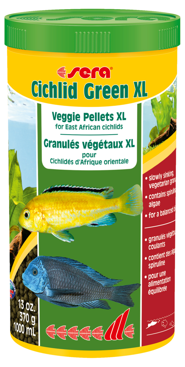 Корм для рыб Sera Cichlid Green XL, 1 л (370 г)0120710Корм для рыб Sera Cichlid Green XL - это растительный корм со спирулиной для больших цихлид и других крупных рыб, питающихся в основном растительной пищей. Состоит из специально подготовленных гранул. Высокая доля водоросли спирулины (10%) и других растительных компонентов (шпинат) с высоким уровнем содержания каротиноидов, минералов, микроэлементов и клетчатки помогает достичь оптимального развития, цвета и улучшает состояние пищеварительной системы. Плавающие гранулы обладают высокой стабильностью в воде и не загрязняют воду. Инструкция по применению: Кормить один-два раза в день, но только в том количестве, которое рыбы могут съесть в течение короткого периода времени. Ингредиенты: рыбная мука, кукурузный крахмал, пшеничная мука, спирулина (10%), пшеничные зародыши, пивные дрожжи, рыбий жир (49% Омега жирных кислот), гаммарус, пшеничная клейковина, маннанолиго-сахариды (0,4%), криль, крапива, травы, люцерна, петрушка, зеленые мидии, морские водоросли, паприка, шпинат, морковь, водоросль гематококкус, чеснок. Аналитический состав: протеин 37,9%, жиры 7,0%, клетчатка 7,1%, влажность 6,0%, зольные вещества 7,9%.Витамины и провитамины: витамин А 16.800 ME/ кг, витамин D3 820 МЕ/кг, витамин Е (D, L-a-tocopheryl acetate) 54 мг/кг, витамин В1 16 мг/кг, витамин В2 41 мг/кг, витамин С (L-ascorbyl monophosphate) 250 мг/кг. Товар сертифицирован.