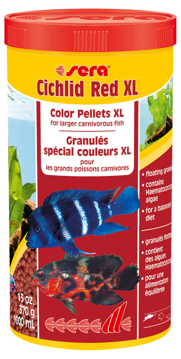 Корм для рыб Sera Cichlid Red Xl, 1000 мл (370 г)0120710Основной корм для крупных плотоядных цихлид.Cichlid Green XL является основным кормом, состоящим из специально подготовленных гранул для больших плотоядных цихлид и других крупных всеядных рыб. Высокое содержание белков и омега-жирных кислот из водорослей Haematococcus помогают достичь оптимального и здорового развития, цвета, имеют особый вкус и отличную поедаемость. Плавающие гранулы обладают высокой стабильностью в воде и не загрязняют воду. Инструкция по применению: Кормить один-два раза в день, но только в том количестве, которое рыбы могут съесть в течение короткого периода времени. Ингредиенты: рыбная мука (40%), кукурузный крахмал, пшеничная мука, пшеничная клейковина, пшеничные зародыши, пивные дрожжи, спирулина, рыбий жир (в т.ч. 49% Омега жирных кислот), водоросль гематококкус (0,5%), криль, маннанолиго-сахариды (0,4%), травы, люцерна, крапива,петрушка, зеленые мидии, морские водоросли, паприка, шпинат, морковь, чеснок. Аналитический состав: Протеин 40,0%, Жиры 7,5%, Клетчатка 4,5%, Влажность 5,5%, Зольные вещества 7,9%.Содержание добавок: Витамины и провитамины: Вит. А 16.800 ME/ кг, Вит. D3 820 МЕ/кг, Вит. Е (D, L-a-tocopheryl acetate) 54 мг/кг, Вит. В1 16 мг/кг, Вит. В2 41 мг/кг, Стаб. Вит. С (L-ascorbyl monophosphate) 250 мг/кг. Содержит пищевые красители допустимые в ЕС.