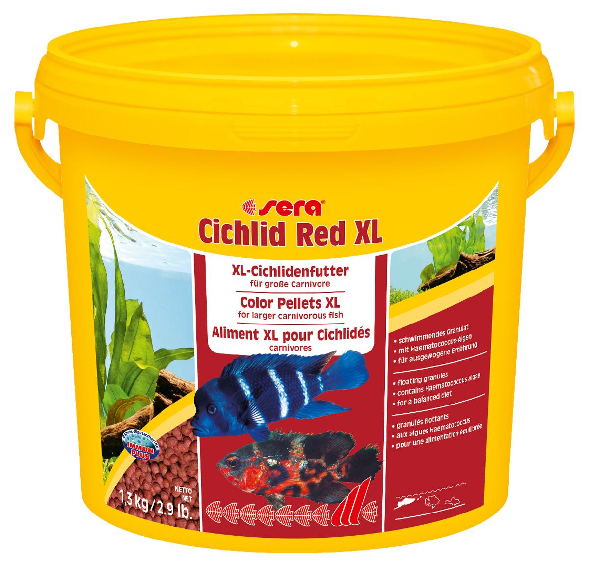 Корм для рыб Sera Cichlid Red XL, 1,3 кг69559Корм для рыб Sera Cichlid Red XL - основной корм для крупных плотоядных цихлид и других крупных всеядных рыб. Корм состоит из специально подготовленных гранул. Высокое содержание белков и омега-жирных кислот из водорослей Haematococcus помогает достичь оптимального и здорового развития и цвета, гранулы имеют особый вкус и отличную поедаемость. Плавающие гранулы обладают высокой стабильностью в воде и не загрязняют воду. Инструкция по применению: Кормить один-два раза в день, но только в том количестве, которое рыбы могут съесть в течение короткого периода времени. Ингредиенты: рыбная мука (40%), кукурузный крахмал, пшеничная мука, пшеничная клейковина, пшеничные зародыши, пивные дрожжи, спирулина, рыбий жир (49% Омега жирных кислот), водоросль гематококкус (0,5%), криль, маннанолиго-сахариды (0,4%), травы, люцерна, крапива, петрушка, зеленые мидии, морские водоросли, паприка, шпинат, морковь, чеснок. Аналитический состав: протеин 40,0%, жиры 7,5%, клетчатка 4,5%, влажность 5,5%, зольные вещества 7,9%.Витамины и провитамины: витамин А 16.800 ME/ кг, витамин D3 820 МЕ/кг, витамин Е (D, L-a-tocopheryl acetate) 54 мг/кг, витамин В1 16 мг/кг, витамин В2 41 мг/кг, витамин С (L-ascorbyl monophosphate) 250 мг/кг. Содержит пищевые красители, допустимые в ЕС. Товар сертифицирован.