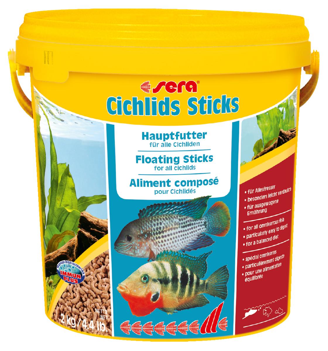Корм для рыб Sera Cichlids Sticks, 10 л (2 кг)0120710Корм для рыб Sera Cichlids Sticks предназначен для всех видов цихлид. Корм изготовлен в виде палочек, произведенных путем бережной обработки сырья. Благодаря высокому содержанию ценных белков и входящим в состав зародышам пшеницы, этот сбалансированный корм легко усваивается и особенно привлекателен для рыб. Формула Vital-Immun-Protect гарантирует рыбам прекрасное здоровье, укрепление иммунитета и обилие жизненных сил. Плавающие палочки сохраняют свою форму в воде, не загрязняя ее. Корм не содержит красителей, благодаря чему ни при каких условиях не подкрашивает воду в аквариуме. Инструкция по применению: Кормить один-два раза в день, но только в том количестве, которое рыбы могут съесть в течение короткого периода времени. Ингредиенты: рыбная мука, кукурузный крахмал, пшеничная мука, пшеничная клейковина, пшеничные зародыши (5%), пивные дрожжи, рыбий жир (49% Омега жирных кислот), гаммарус, маннанолиго-сахариды (0,4%), зеленые мидии, водоросль гематококкус, чеснок. Аналитический состав: протеин 41,9%, жиры 6,4%, клетчатка 2,9%, влажность 4,5%, зольные вещества 4,8%.Витамины и провитамины: витамин А 30.000 ME/ кг, витамин D3 1.500 МЕ/кг, витамин Е (D, L-a-tocopheryl acetate) 60 мг/кг, витамин В1 30 мг/кг, витамин В2 90 мг/кг, витамин С (L-ascorbyl monophosphate) 550 мг/кг. Товар сертифицирован.