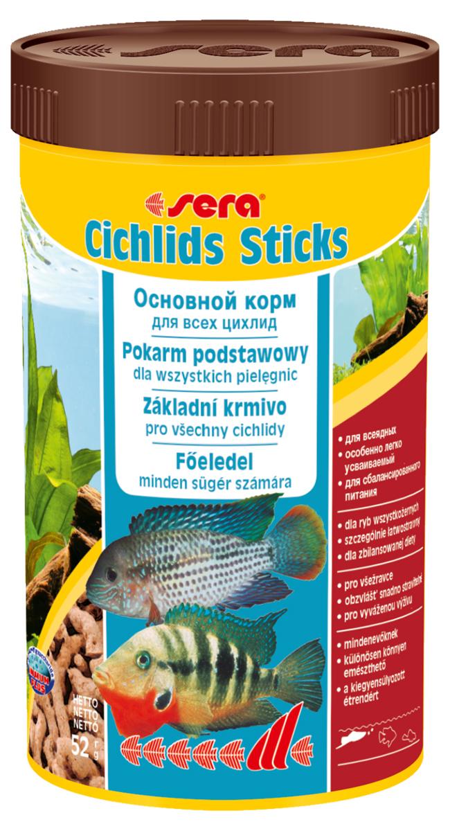 Корм для рыб Sera Cichlids Sticks, 250 мл (52 г)0228Корм для рыб Sera Cichlids Sticks предназначен для всех видов цихлид. Корм изготовлен в виде палочек, произведенных путем бережной обработки сырья. Благодаря высокому содержанию ценных белков и входящим в состав зародышам пшеницы, этот сбалансированный корм легко усваивается и особенно привлекателен для рыб. Формула Vital-Immun-Protect гарантирует рыбам прекрасное здоровье, укрепление иммунитета и обилие жизненных сил. Плавающие палочки сохраняют свою форму в воде, не загрязняя ее. Корм не содержит красителей, благодаря чему ни при каких условиях не подкрашивает воду в аквариуме. Инструкция по применению: Кормить один-два раза в день, но только в том количестве, которое рыбы могут съесть в течение короткого периода времени. Ингредиенты: рыбная мука, кукурузный крахмал, пшеничная мука, пшеничная клейковина, пшеничные зародыши (5%), пивные дрожжи, рыбий жир (49% Омега жирных кислот), гаммарус, маннанолиго-сахариды (0,4%), зеленые мидии, водоросль гематококкус, чеснок. Аналитический состав: протеин 41,9%, жиры 6,4%, клетчатка 2,9%, влажность 4,5%, зольные вещества 4,8%.Витамины и провитамины: витамин А 30.000 ME/ кг, витамин D3 1.500 МЕ/кг, витамин Е (D, L-a-tocopheryl acetate) 60 мг/кг, витамин В1 30 мг/кг, витамин В2 90 мг/кг, витамин С (L-ascorbyl monophosphate) 550 мг/кг. Товар сертифицирован.