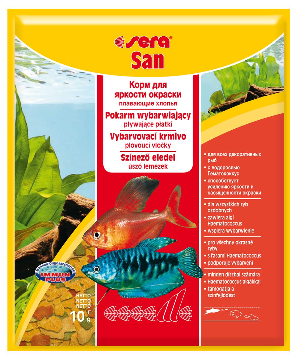 Корм для рыб Sera San, 10 г0120710Корм для рыб Sera San - основной корм для всех видов рыб, произведенный в виде хлопьев. Хлопья имеют очень тонкую и пластичную структуру, благодаря чему охотно поедаются даже самыми привередливыми рыбами. Благодаря высокому содержанию каротина и спирулины корм способствует улучшению окраски декоративных рыб. Сбалансированный состав и высокое содержание белков и витаминов позволяет добиться отличного роста у молодых рыб. Полноценный состав из более, чем 40 ингредиентов обеспечивает ежедневные потребности в питательных веществах типичного сообщества рыб. Формула Vital-Immun-Protect гарантирует вашим рыбам прекрасное здоровье, укрепление иммунитета и обилие жизненных сил. Кормить умеренно несколько раз в день в количестве, которое рыбы могут съесть в течение короткого промежутка времени. Ингредиенты: рыбная мука, пшеничная мука, пивные дрожжи, казеинат кальция, гаммарус, яичный порошок, спирулина, масло печени трески, маннанолигосахарид (MOS 0,4%), мука из зеленых губчатых моллюсков, чеснок, зелень, люцерна, крапива, водоросли, зелень петрушки, перец, шпинат, морковь, красители, разрешенные в ЕС. Качественный состав на кг: протеин 48,6%, жир 8,3%, клетчатка 2,9%, зола 11,5%, влажность 5,2%; витамины: А 37000МЕ, В1 35мг, В2 90 мг, С 550 мг, D3 1800МЕ, Е 120 мг. Товар сертифицирован.