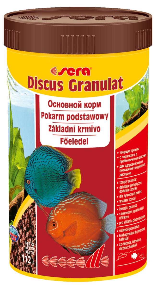Корм для рыб Sera Discus Granulat, 250 мл (116 г)0120710Корм для рыб Sera Discus Granulat- это тонущие гранулы c чесноком и с пребиотическим действием для здоровой жизни и повышения плодовитости дискусов. Дискусов по праву считают королями пресноводных аквариумов - мало кто может соперничать с ними по стати, разнообразию окрасов и причудливости форм. Как настоящие короли, дискусы исключительно капризны в еде. Корм Discus granulat полностью удовлетворяет потребностям дискусов в питательных веществах и охотно поедается этими капризными королями. В состав корма входят ингредиенты, богатые минералами, и хорошо усвояемые белки. Благодаря этому кормление этим кормом способствует здоровому росту рыбы, повышает ее плодовитость и устойчивость к болезням. Тонущие гранулы надолго сохраняют свою форму в воде, не загрязняя ее, и великолепно усваиваются организмом рыб. Инструкция по применению: Кормить один-два раза в день, но только в том количестве, которое рыбы могут съесть в течение короткого периода времени. Ингредиенты: рыбная мука (43%), пшеничная мука, пшеничные зародыши (10%), пивные дрожжи, казеинат кальция, спирулина, пшеничная клейковина, рыбий жир (49% Омега жирных кислот), криль, гаммарус, водоросль гематококкус (0,5%), маннанолигосахариды (0,4%), зеленые мидии, крапива, растительное сырье, люцерна, чеснок (0,1%), петрушка, морские водоросли, паприка, шпинат, морковь. Аналитический состав: протеин 53,0%, жиры 10,3%, клетчатка 2,9%, влажность 5,0%, зольные вещества 8,8%.Витамины и провитамины: витамин A 37.000 МЕ/кг, витамин D3 1.800 МЕ/кг, витамин E (D, L-?-tocopheryl acetate) 120 мг/кг, витамин B1 35 мг/кг, витамин B2 90 мг/кг, витамин C (L-ascorbyl monophosphate) 550 мг/кг. Содержит пищевые красители, допустимые в ЕС. Товар сертифицирован.
