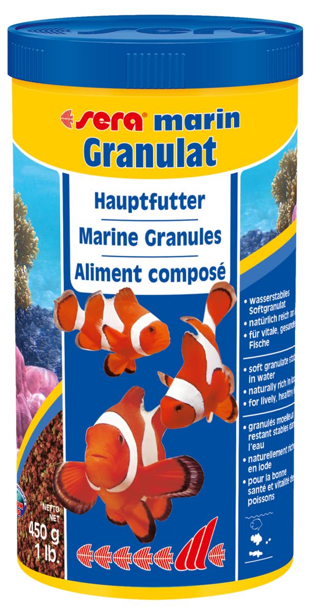 Корм для морских рыб Sera Marin Granulat, 1 л (450 г)0120710Корм для морских рыб Sera Marin Granulat - гранулированный корм, который состоит из особо мягких компонентов и медленно тонет в воде. Мягкие гранулы идеально подходят в качестве основного корма для всех морских рыб, кормящихся в средних слоях воды, а также ориентированных на придонное кормление. Тщательно подобранные ингредиенты, такие как высококачественный рыбий жир, водоросли спирулина, а также планктон, полностью удовлетворяют потребностям рыб. Инструкция по применению: кормить один-два раза в день, но только в том количестве, которое рыбы могут съесть в течение короткого периода времени. Ингредиенты: рыбная мука, пшеничная клейковина, пшеничная мука, пшеничные зародыши, казеинат кальция, морские водоросли, рыбий жир (49% Омега жирных кислот), спирулина, криль, пивные дрожжи, крапива, растительное сырье, люцерна, петрушка, маннанолигосахариды (0,4%), паприка, шпинат, морковь, зеленые мидии, водоросль гематококкус, чеснок. Аналитический состав: протеины 52,5%, жиры 8,1 %, клетчатка 5,0%, влажность 5,0%, зольные вещества 6,5%. Содержание добавок: витамин A 30.000 lUAg, витамин D, 1.500 lUAg, витамин E (D, L-a-tocopheryl acetate) 60 mg/kg, витамин B1 30 mg/kg, витамин B2 90 mg/kg, стаб. витамин С (L-ascorbyl monophosphate) 550 mg/kg. Содержит пищевые красители, допустимые в ЕС. Товар сертифицирован.