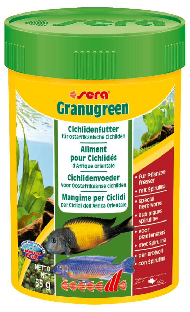 Корм для рыб Sera Granugreen, 100 мл (55 г)5623Корм для рыб Sera Granugreen - это основной комплексный корм в виде гранул, произведенных путем бережной обработки сырья. Предназначен для цихлид из африканских озер Малави и Танганьика, которые преимущественно питаются растениями и перифитоном. Сбалансированный состав растительных компонентов, таких как водоросль спирулина и шпинат, способствует здоровому пищеварению и оптимальному формированию яркости и насыщенности окраски цихлид. Медленно тонущие гранулы надолго сохраняют свою форму в воде, не загрязняя ее. Этот корм изготовлен в соответствии c формулой Vital-Immun-Protect, что гарантирует рыбам прекрасное здоровье, укрепление иммунитета и обилие жизненных сил. Инструкция по применению: кормить один-два раза в день, но только в том количестве, которое рыбы могут съесть в течение короткого периода времени. Ингредиенты: рыбная мука, кукурузный крахмал, пшеничная клейковина, пшеничная мука, пшеничные зародыши, пивные дрожжи, рыбий жир (49% Омега жирных кислот), петрушка, спирулина (1,7%), крапива, растительное сьрье, люцерна, маннанолигосахариды (0,4%), морские водоросли, паприка, шпинат, морковь, зеленые мидии, водоросль гематококкус, чеснок. Аналитический состав: протеин 38,9%, жиры 8,5%, клетчатка 4,8%, влажность 5,0%, зольные вещества 5,3%. Содержание добавок: витамин A 30.000 ID/kg, витамин D3 31.500 lU/kg, витамин E (D, L-o-tocopheryl acetate) 60 mg/kg, витамин B1 30 mg/kg, витамин B 90 mg/kg, витамин С (L-ascoibyl monophosphate) 550 mg/kg. Товар сертифицирован.