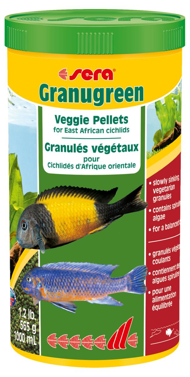 Корм для рыб Sera Granugreen, 1 л ( г)0396Корм для рыб Sera Granugreen - это основной комплексный корм в виде гранул, произведенных путем бережной обработки сырья. Предназначен для цихлид из африканских озер Малави и Танганьика, которые преимущественно питаются растениями и перифитоном. Сбалансированный состав растительных компонентов, таких как водоросль спирулина и шпинат, способствует здоровому пищеварению и оптимальному формированию яркости и насыщенности окраски цихлид. Медленно тонущие гранулы надолго сохраняют свою форму в воде, не загрязняя ее. Этот корм изготовлен в соответствии c формулой Vital-Immun-Protect, что гарантирует рыбам прекрасное здоровье, укрепление иммунитета и обилие жизненных сил. Инструкция по применению: кормить один-два раза в день, но только в том количестве, которое рыбы могут съесть в течение короткого периода времени. Ингредиенты: рыбная мука, кукурузный крахмал, пшеничная клейковина, пшеничная мука, пшеничные зародыши, пивные дрожжи, рыбий жир (49% Омега жирных кислот), петрушка, спирулина (1,7%), крапива, растительное сьрье, люцерна, маннанолигосахариды (0,4%), морские водоросли, паприка, шпинат, морковь, зеленые мидии, водоросль гематококкус, чеснок. Аналитический состав: протеин 38,9%, жиры 8,5%, клетчатка 4,8%, влажность 5,0%, зольные вещества 5,3%. Содержание добавок: витамин A 30.000 ID/kg, витамин D3 31.500 lU/kg, витамин E (D, L-o-tocopheryl acetate) 60 mg/kg, витамин B1 30 mg/kg, витамин B 90 mg/kg, витамин С (L-ascoibyl monophosphate) 550 mg/kg. Товар сертифицирован.