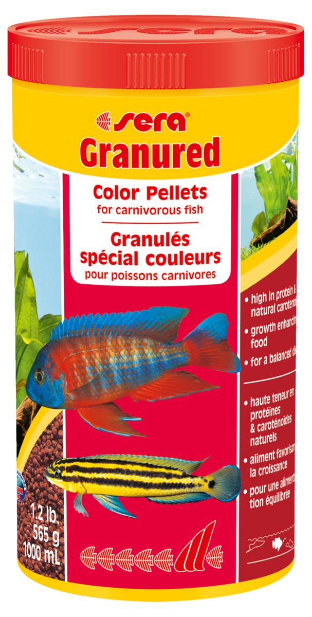 Корм для рыб Sera Granured, 1 л ( г)0120710Корм для рыб Sera Granured - это основной комплексный корм в виде гранул, произведенных путем бережной обработки сырья. Состоит в основном из продуктов животного происхождения (рыбные продукты, мука из ракообразных), содержит богатую каротином водоросль спирулину, благодаря чему улучшает окраску рыб. Оптимально подобранный состав гарантирует отличное пищеварение и обилие сил у рыб. Корм предназначен преимущественно для плотоядных цихлид. Высокое содержание белка, ценных жиров и криля способствует здоровому развитию и оптимальному формированию яркости и насыщенности окраски цихлид. Медленно тонущие гранулы надолго сохраняют свою форму в воде, не загрязняя ее. Этот корм изготовлен в соответствии c формулой Vital-Immun-Protect, что гарантирует рыбам прекрасное здоровье, укрепление иммунитета и обилие жизненных сил. Инструкция по применению: Кормить один-два раза в день, но только в том количестве, которое рыбы могут съесть в течение короткого периода времени. Ингредиенты: рыбная мука (26%), кукурузный крахмал, пшеничная клейковина, пшеничная мука, пшеничные зародыши, криль (2%), рыбий жир (49% Омега жирных кислот), гаммарус, маннанолигосахариды (0,4%), пивные дрожжи, спирулина, зеленые мидии, водоросль гематококкус, чеснок. Аналитический состав: протеин 46,5%, жиры 8,2%, клетчатка 3,3%, влажность 5,0%, зольные вещества 5,3%.Витамины и провитамины: витамин A 30.000 МЕ/кг, витамин D3 1.500 МЕ/кг, витамин E (D, L-а-tocopheryl acetate) 60 мг/кг, витамин B1 30 мг/кг, витамин B2 90 мг/кг, витамин C (L-ascorbyl monophosphate) 550 мг/кг. Содержит пищевые красители, допустимые в ЕС. Товар сертифицирован.