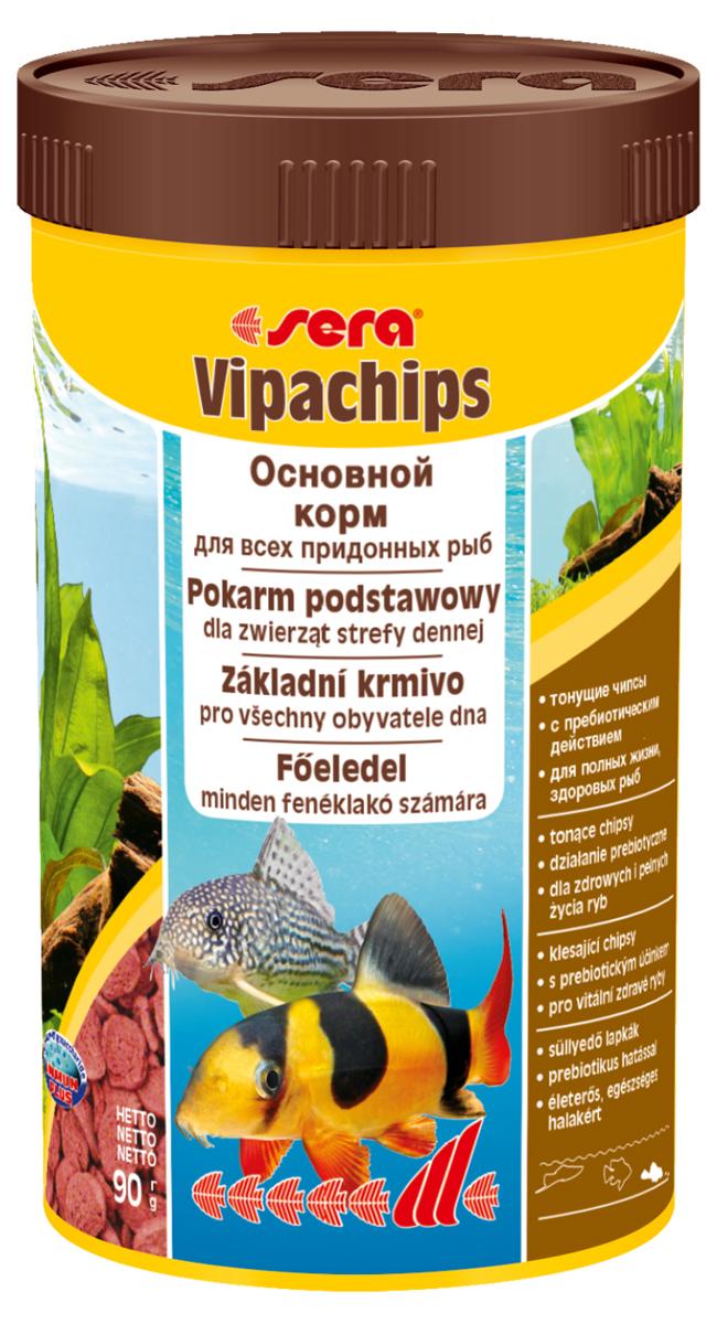 Корм для рыб Sera Vipachips, 250 мл (90 г)0120710Корм для рыб Sera Vipachips в виде чипсов предназначен для всех видов донных рыб. Быстро тонущие чипсы становятся мягкими в воде, при этом надолго сохраняют свою форму и не загрязняют воду. Состав корма позволяет обеспечить придонных обитателей всеми необходимыми им питательными веществами. Отлично подходит для кормления креветок, крабов и других пресноводных беспозвоночных. Тщательно подобранные ингредиенты корма с пребиотическим действием способствуют здоровью и жизнестойкости рыб. Формула Vital-Immun-Protect гарантирует вашим рыбам прекрасное здоровье, укрепление иммунитета и обилие жизненных сил. Инструкция по применению: Кормить экономно один раз в день. Ночных животных желательно кормить вечером. Ингредиенты: рыбная мука, пшеничная мука, кукурузный крахмал, пшеничные зародыши, пивные дрожжи, цельный яичный порошок, сухое молоко, рыбий жир (49% Омега жирных кислот), криль, маннанолигосахариды (0,4%), растительное сырье, люцерна, крапива, петрушка, морские водоросли, паприка, спирулина, зеленые мидии, шпинат, морковь, водоросль гематококкус, чеснок. Аналитический состав: протеин 33,5%, жиры 7,5%, клетчатка 5,3%, влажность 5,0%, зольные вещества 6,4%.Витамины и провитамины: витамин A 37.000 МЕ/кг, витамин D3 1.800 МЕ/кг, витамин E (D, L-а-tocopheryl acetate) 120 мг/кг, витамин B1 35 мг/кг, витамин B2 90 мг/кг, витамин C (L-ascorbyl monophosphate) 550 мг/кг. Содержит пищевые красители, допустимые в ЕС. Товар сертифицирован.