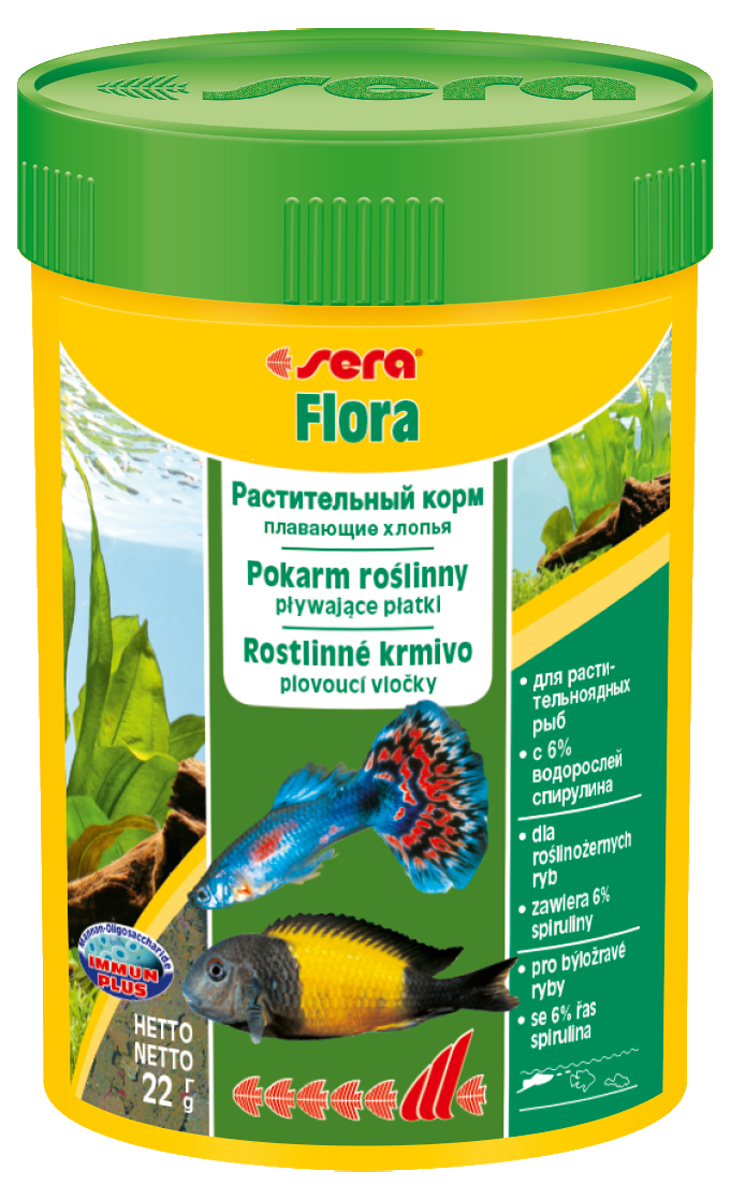 Корм для рыб Sera Flora, 100 мл (22 г)0120710Корм для рыб Sera Flora - хлопьевидный корм из растительного сырья для всех растительноядных рыб, живородящих (гуппи, меченосцы), африканских цихлид. Для растительноядных рыб данный корм должен составлять не менее 70% от рациона, для всех остальных может использоваться в качестве дополнительного корма. Это идеальный корм для всех видов рыб, кормящихся у поверхности воды. Тщательно подобранные ингредиенты корма, богатые балластными веществами, такими как водоросль спирулина, способствуют здоровому пищеварению и жизнестойкости рыб. Хлопья долго плавают, сохраняя свою форму, поэтому они поедаются полностью и не загрязняют воду. Формула Vital-Immun-Protect гарантирует рыбам прекрасное здоровье, укрепление иммунитета и обилие жизненных сил. Инструкция по применению: Кормить один-два раза в день, но только в том количестве, которое рыбы могут съесть в течение короткого периода времени. Ингредиенты: рыбная мука, пшеничная мука, пивные дрожжи, казеинат кальция, спирулина (6%), гаммарус, морские водоросли, цельный яичный порошок, крапива, люцерна, растительное сырье, маннанолигосахариды (0,4%), жир из печени рыбы (34% Омега жирных кислот), петрушка, паприка, зеленые мидии, шпинат, морковь, водоросль гематококкус, чеснок. Аналитический состав: протеин 44,7%, жиры 7,7%, клетчатка 4,2%, влажность 5,8%, зольные вещества 11,3%.Витамины и провитамины: витамин A 37.000 МЕ/кг, витамин D3 1.800 МЕ/кг, витамин E (D, L-а-tocopheryl acetate) 120 мг/кг, витамин B1 35 мг/кг, витамин B2 90 мг/кг, витамин C (L-ascorbyl monophosphate) 550 мг/кг. Содержит пищевые красители, допустимые в ЕС. Товар сертифицирован.