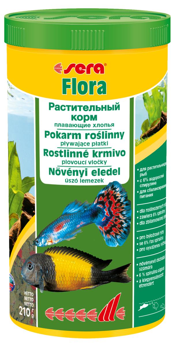 Корм для рыб Sera Flora, 1 л (210 г)0670Корм для рыб Sera Flora - хлопьевидный корм из растительного сырья для всех растительноядных рыб, живородящих (гуппи, меченосцы), африканских цихлид. Для растительноядных рыб данный корм должен составлять не менее 70% от рациона, для всех остальных может использоваться в качестве дополнительного корма. Это идеальный корм для всех видов рыб, кормящихся у поверхности воды. Тщательно подобранные ингредиенты корма, богатые балластными веществами, такими как водоросль спирулина, способствуют здоровому пищеварению и жизнестойкости рыб. Хлопья долго плавают, сохраняя свою форму, поэтому они поедаются полностью и не загрязняют воду. Формула Vital-Immun-Protect гарантирует рыбам прекрасное здоровье, укрепление иммунитета и обилие жизненных сил. Инструкция по применению: Кормить один-два раза в день, но только в том количестве, которое рыбы могут съесть в течение короткого периода времени. Ингредиенты: рыбная мука, пшеничная мука, пивные дрожжи, казеинат кальция, спирулина (6%), гаммарус, морские водоросли, цельный яичный порошок, крапива, люцерна, растительное сырье, маннанолигосахариды (0,4%), жир из печени рыбы (34% Омега жирных кислот), петрушка, паприка, зеленые мидии, шпинат, морковь, водоросль гематококкус, чеснок. Аналитический состав: протеин 44,7%, жиры 7,7%, клетчатка 4,2%, влажность 5,8%, зольные вещества 11,3%.Витамины и провитамины: витамин A 37.000 МЕ/кг, витамин D3 1.800 МЕ/кг, витамин E (D, L-а-tocopheryl acetate) 120 мг/кг, витамин B1 35 мг/кг, витамин B2 90 мг/кг, витамин C (L-ascorbyl monophosphate) 550 мг/кг. Содержит пищевые красители, допустимые в ЕС. Товар сертифицирован.