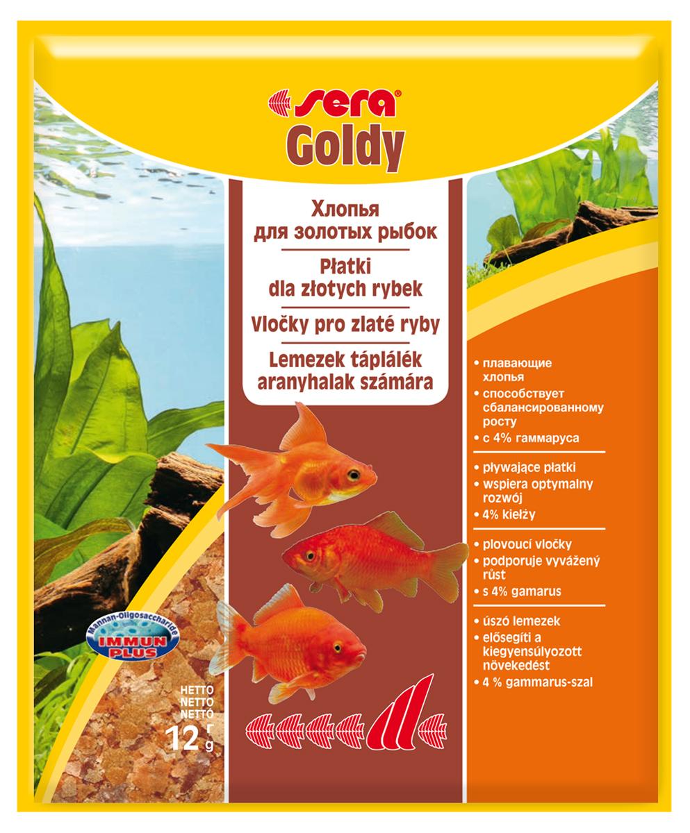 Корм для рыб Sera Goldy, 12 г0120710Корм для рыб Sera Goldy - основной корм в хлопьях для каждодневного кормления всех золотых рыбок в аквариумах и садовых прудах. Золотым рыбкам требуется меньше белков и больше легко перевариваемых углеводов, чем тропическим рыбкам. Корм sera goldy содержит спирулину и муку из пророщенной пшеницы, благодаря чему идеально подходит для кормления холодноводных рыб в аквариумах и прудах. Кормление рыб осенью укрепляет рыб перед спячкой (при зимовке в водоеме). Благодаря тщательно подобранным ингредиентам растительного и животного происхождения, корм является привлекательным для рыб, легко усваивается, способствует их сбалансированному росту и активности. Инструкция по применению: Кормить круглогодично один-два раза в день, но только в том количестве, которое рыбы могут съесть в течение короткого периода времени. Молодые рыбки нуждаются в более частом кормлении (при необходимости можно измельчить хлопья для более полноценного кормления). Ингредиенты: рыбная мука, пшеничная мука, пивные дрожжи, казеинат кальция, гаммарус (4%), маннанолигосахариды (0,4%), зеленые мидии, чеснок, крапива, люцерна, растительное сырье, петрушка, морские водоросли, паприка, спирулина, шпинат, морковь. Аналитический состав: протеин 48,6%, жиры 8,1%, клетчатка 3,9%, влажность 5,0%, зольные вещества 11,1%.Витамины и провитамины: витамин A 30.000 МЕ/кг, витамин D3 1.500 МЕ/кг, витамин E (D, L-а-tocopheryl acetate) 60 мг/кг, витамин B1 30 мг/кг, витамин B2 90 мг/кг, витамин C (L-ascorbyl monophosphate) 550 мг/кг. Содержит пищевые красители, допустимые в ЕС. Товар сертифицирован.
