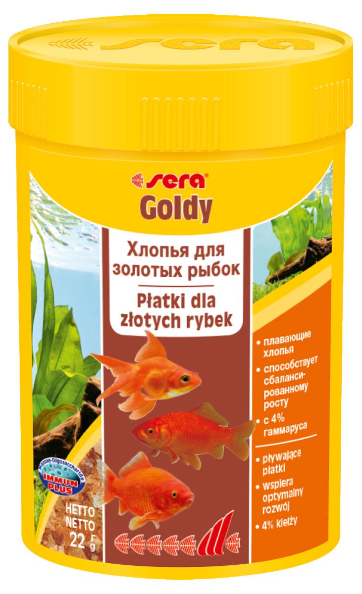Корм для рыб Sera Goldy, 100 мл (22 г)0840Корм для рыб Sera Goldy - основной корм в хлопьях для каждодневного кормления всех золотых рыбок в аквариумах и садовых прудах. Золотым рыбкам требуется меньше белков и больше легко перевариваемых углеводов, чем тропическим рыбкам. Корм sera goldy содержит спирулину и муку из пророщенной пшеницы, благодаря чему идеально подходит для кормления холодноводных рыб в аквариумах и прудах. Кормление рыб осенью укрепляет рыб перед спячкой (при зимовке в водоеме). Благодаря тщательно подобранным ингредиентам растительного и животного происхождения, корм является привлекательным для рыб, легко усваивается, способствует их сбалансированному росту и активности. Инструкция по применению: Кормить круглогодично один-два раза в день, но только в том количестве, которое рыбы могут съесть в течение короткого периода времени. Молодые рыбки нуждаются в более частом кормлении (при необходимости можно измельчить хлопья для более полноценного кормления). Ингредиенты: рыбная мука, пшеничная мука, пивные дрожжи, казеинат кальция, гаммарус (4%), маннанолигосахариды (0,4%), зеленые мидии, чеснок, крапива, люцерна, растительное сырье, петрушка, морские водоросли, паприка, спирулина, шпинат, морковь. Аналитический состав: протеин 48,6%, жиры 8,1%, клетчатка 3,9%, влажность 5,0%, зольные вещества 11,1%.Витамины и провитамины: витамин A 30.000 МЕ/кг, витамин D3 1.500 МЕ/кг, витамин E (D, L-а-tocopheryl acetate) 60 мг/кг, витамин B1 30 мг/кг, витамин B2 90 мг/кг, витамин C (L-ascorbyl monophosphate) 550 мг/кг. Содержит пищевые красители, допустимые в ЕС. Товар сертифицирован.