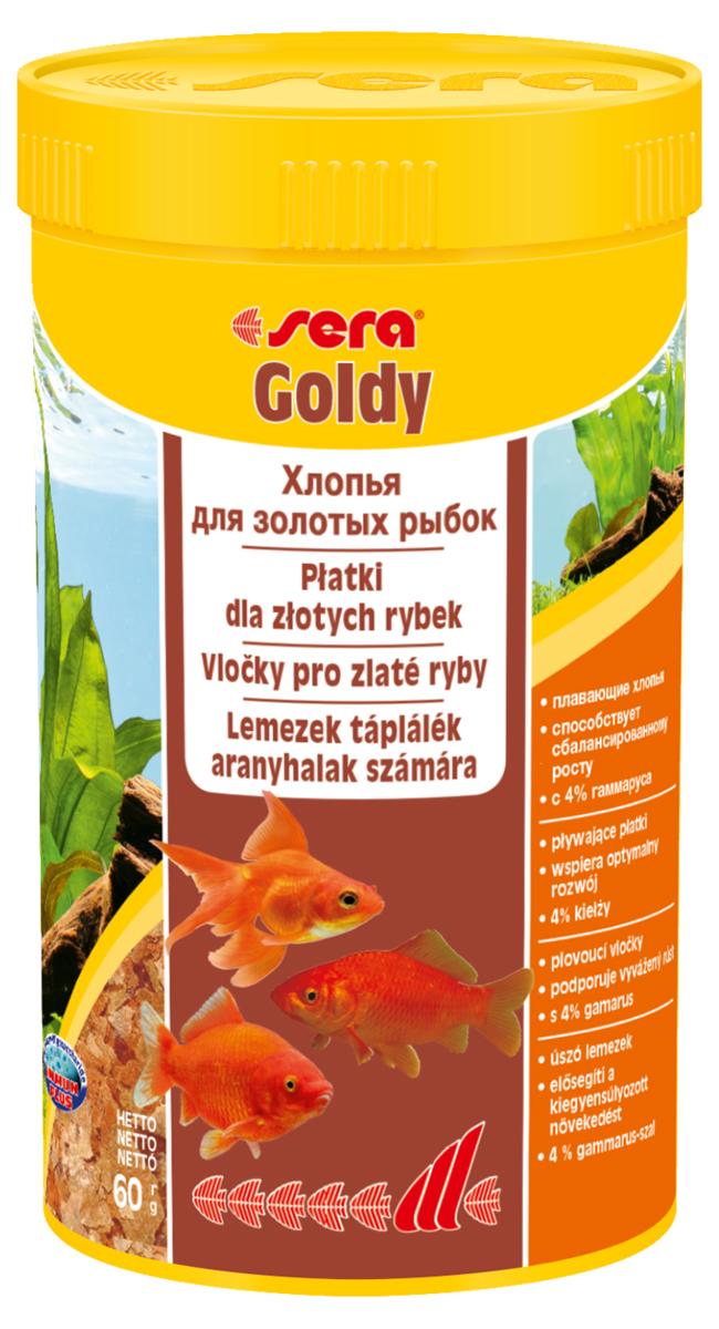 Корм для рыб Sera Goldy, 250 мл (60 г)12171996Корм для рыб Sera Goldy - основной корм в хлопьях для каждодневного кормления всех золотых рыбок в аквариумах и садовых прудах. Золотым рыбкам требуется меньше белков и больше легко перевариваемых углеводов, чем тропическим рыбкам. Корм sera goldy содержит спирулину и муку из пророщенной пшеницы, благодаря чему идеально подходит для кормления холодноводных рыб в аквариумах и прудах. Кормление рыб осенью укрепляет рыб перед спячкой (при зимовке в водоеме). Благодаря тщательно подобранным ингредиентам растительного и животного происхождения, корм является привлекательным для рыб, легко усваивается, способствует их сбалансированному росту и активности. Инструкция по применению: Кормить круглогодично один-два раза в день, но только в том количестве, которое рыбы могут съесть в течение короткого периода времени. Молодые рыбки нуждаются в более частом кормлении (при необходимости можно измельчить хлопья для более полноценного кормления). Ингредиенты: рыбная мука, пшеничная мука, пивные дрожжи, казеинат кальция, гаммарус (4%), маннанолигосахариды (0,4%), зеленые мидии, чеснок, крапива, люцерна, растительное сырье, петрушка, морские водоросли, паприка, спирулина, шпинат, морковь. Аналитический состав: протеин 48,6%, жиры 8,1%, клетчатка 3,9%, влажность 5,0%, зольные вещества 11,1%.Витамины и провитамины: витамин A 30.000 МЕ/кг, витамин D3 1.500 МЕ/кг, витамин E (D, L-а-tocopheryl acetate) 60 мг/кг, витамин B1 30 мг/кг, витамин B2 90 мг/кг, витамин C (L-ascorbyl monophosphate) 550 мг/кг. Содержит пищевые красители, допустимые в ЕС. Товар сертифицирован.