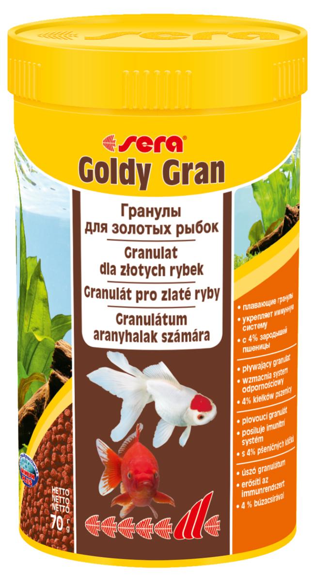 Корм для рыб Sera Goldy Gran, 250 мл (70 г)0120710Корм для рыб Sera Goldy Gran - комплексный корм для холодноводных рыб (аквариумных и прудовых), идеальный основной корм для золотых рыбок. Плавающие гранулы корма, благодаря высококачественным ингредиентам, обеспечивают всеми необходимыми питательными веществами даже самые привередливые виды рыб. Входящие в состав корма зародыши пшеницы гарантируют высокую усвояемость корма, в том числе при низких температурах. Рыбы, таким образом, растут и остаются здоровыми без перекармливания. Результатом кормления этим кормом будут яркие цвета, здоровый рост, крепкая иммунная система, плодовитость и жизнеспособность рыб. Инструкция по применению: Кормите небольшими порциями один-два раза в день, в течение всего года. Дозируйте такое количество корма, которое рыбы могут съесть в течение короткого периода времени. Ингредиенты: рыбная мука, кукурузный крахмал, пшеничная мука, пшеничные зародыши (4%), пшеничная клейковина, рыбий жир, пивные дрожжи, маннанолигосахариды (0,4%), криль, зеленые мидии, чеснок. Аналитический состав: протеин 33,0%, жиры 7,2%, клетчатка 4,8%, влажность 5,4%, зольные вещества 5,8%.Витамины и провитамины: витамин А 14.400 МЕ/кг, витамин D31.800 МЕ/кг, витамин Е (D, L-a-tocopheryl acetate) 180 мг/кг, витамин В1 18 мг/кг, витамин В2 18 мг/кг, витамин С (L-ascorbyl monophosphate) 180 мг/кг. Содержит пищевые красители, допустимые в ЕС. Товар сертифицирован.