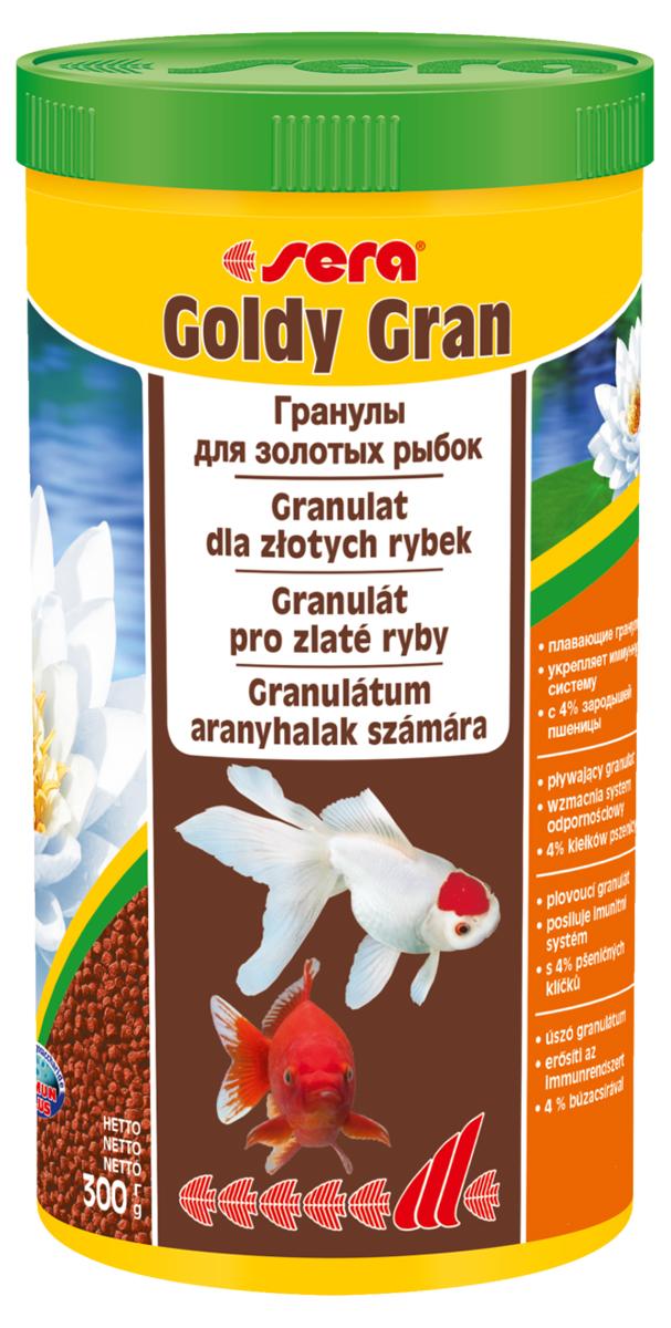 Корм для рыб Sera Goldy Gran, 1 л (300 г)0120710Корм для рыб Sera Goldy Gran - комплексный корм для холодноводных рыб (аквариумных и прудовых), идеальный основной корм для золотых рыбок. Плавающие гранулы корма, благодаря высококачественным ингредиентам, обеспечивают всеми необходимыми питательными веществами даже самые привередливые виды рыб. Входящие в состав корма зародыши пшеницы гарантируют высокую усвояемость корма, в том числе при низких температурах. Рыбы, таким образом, растут и остаются здоровыми без перекармливания. Результатом кормления этим кормом будут яркие цвета, здоровый рост, крепкая иммунная система, плодовитость и жизнеспособность рыб. Инструкция по применению: Кормите небольшими порциями один-два раза в день, в течение всего года. Дозируйте такое количество корма, которое рыбы могут съесть в течение короткого периода времени. Ингредиенты: рыбная мука, кукурузный крахмал, пшеничная мука, пшеничные зародыши (4%), пшеничная клейковина, рыбий жир, пивные дрожжи, маннанолигосахариды (0,4%), криль, зеленые мидии, чеснок. Аналитический состав: протеин 33,0%, жиры 7,2%, клетчатка 4,8%, влажность 5,4%, зольные вещества 5,8%.Витамины и провитамины: витамин А 14.400 МЕ/кг, витамин D31.800 МЕ/кг, витамин Е (D, L-a-tocopheryl acetate) 180 мг/кг, витамин В1 18 мг/кг, витамин В2 18 мг/кг, витамин С (L-ascorbyl monophosphate) 180 мг/кг. Содержит пищевые красители, допустимые в ЕС. Товар сертифицирован.