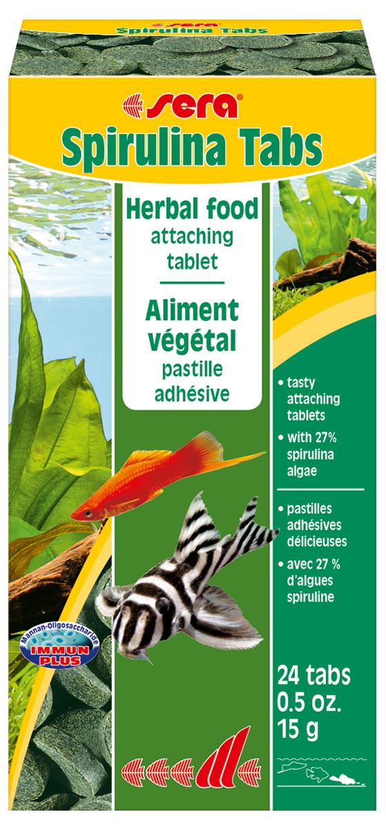 Корм для рыб Sera Spirulina Tabs, 15 г, 24 таблетки0920Корм для рыб Sera Spirulina Tabs с высоким содержанием водоросли спирулина (27%) предназначен для пресноводных и морских животных; способствует их здоровому пищеварению и жизнестойкости. Корм также содержит отборные растительные ингредиенты, такие как планктон, морские водоросли, шпинат и ценные травы. Формула Vital-Immun-Protect гарантирует рыбам прекрасное здоровье, укрепление иммунитета и обилие жизненных сил. Таблетка прикрепляется к стеклянной стенке аквариума легким нажатием пальца. Инструкция по применению: Кормить один-два раза в день, но только в том количестве, которое рыбы могут съесть в течение короткого периода времени. Ингредиенты: спирулина (27%), рыбная мука, пшеничная мука, пивные дрожжи, казеинат кальция, криль, крапива, сухое молоко, гаммарус, морские водоросли, сахар, цельный яичный порошок, маннанолигосахариды (0,4%), растительное сырье, люцерна, жир из печени рыбы (34% Омега жирных кислот), петрушка, паприка, зеленые мидии, шпинат, морковь, водоросль гематококкус, чеснок. Аналитический состав: протеин 48,2%, жиры 8,1%, клетчатка 5,0%, влажность 5,3%, зольные вещества 9,9%. Содержание добавок: витамин A 37.000 lU/kg, витамин D3 1.800 lU/kg, витамин E (D, L-a-tocopheryl acetate) 120 mg/kg, витамин B1 35 mg/kg, витамин В2 90 mg/kg, стаб. витамин С (L-Bscorbyl monophoaphete) 550 mg/kg. Содержит пищевые красители, допустимые в ЕС. Товар сертифицирован.