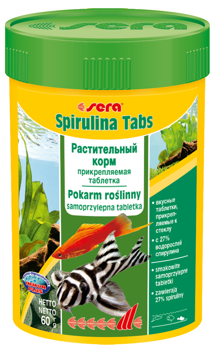 Корм для рыб Sera Spirulina Tabs, 100 мл (60 г), 100 таблеток0120710Корм для рыб Sera Spirulina Tabs с высоким содержанием водоросли спирулина (27%) предназначен для пресноводных и морских животных; способствует их здоровому пищеварению и жизнестойкости. Корм также содержит отборные растительные ингредиенты, такие как планктон, морские водоросли, шпинат и ценные травы. Формула Vital-Immun-Protect гарантирует рыбам прекрасное здоровье, укрепление иммунитета и обилие жизненных сил. Таблетка прикрепляется к стеклянной стенке аквариума легким нажатием пальца. Инструкция по применению: Кормить один-два раза в день, но только в том количестве, которое рыбы могут съесть в течение короткого периода времени. Ингредиенты: спирулина (27%), рыбная мука, пшеничная мука, пивные дрожжи, казеинат кальция, криль, крапива, сухое молоко, гаммарус, морские водоросли, сахар, цельный яичный порошок, маннанолигосахариды (0,4%), растительное сырье, люцерна, жир из печени рыбы (34% Омега жирных кислот), петрушка, паприка, зеленые мидии, шпинат, морковь, водоросль гематококкус, чеснок. Аналитический состав: протеин 48,2%, жиры 8,1%, клетчатка 5,0%, влажность 5,3%, зольные вещества 9,9%. Содержание добавок: витамин A 37.000 lU/kg, витамин D3 1.800 lU/kg, витамин E (D, L-a-tocopheryl acetate) 120 mg/kg, витамин B1 35 mg/kg, витамин В2 90 mg/kg, стаб. витамин С (L-Bscorbyl monophoaphete) 550 mg/kg. Содержит пищевые красители, допустимые в ЕС. Товар сертифицирован.