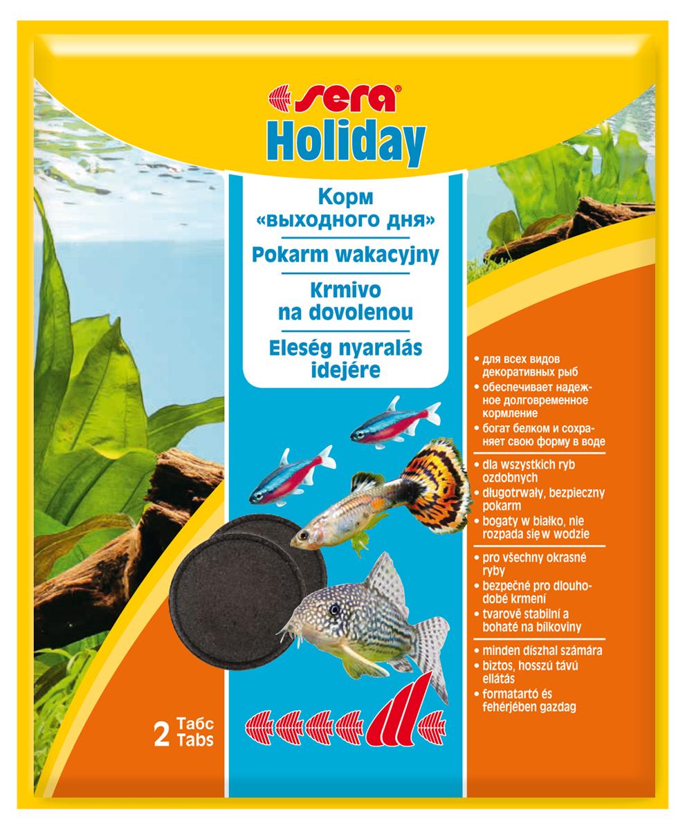 Корм для рыб Sera Holiday, 2 таблетки0120710Корм для рыб Sera Holiday, богатый белком, предназначен для кормления аквариумных рыб в ваше отсутствие. Корм выполнен в виде таблеток. Благодаря инновационному методу производства эти высококачественные питательные кормовые таблетки не разлагаются в воде на протяжении периода до 7 дней. Ценные ингредиенты высвобождаются постепенно, слой за слоем. Отборные составляющие, включающие в себя высококачественный протеин и необходимые минералы, гарантируют хорошую поедаемость корма всеми декоративными рыбами в общих аквариумах. Инструкция по применению: Разместить на открытом участке грунта в аквариуме соответствующее количество таблеток (см. таблицу). Таблетки размокают постепенно. Таким образом, свежий корм находится в распоряжении рыб, не загрязняя воду, в течение нескольких дней. Перед долгим отсутствием обязательно убедитесь в высоком качестве воды в аквариуме. Ингредиенты: казеинат кальция, рыбная мука, зеленые мидии, кора ивы. Содержит пищевые красители, допустимые в ЕС. Аналитический состав: протеин 54,3%, жиры 7,8%, клетчатка 26,9%, влажность 10,5%, зольные вещества 4,7%.Товар сертифицирован.