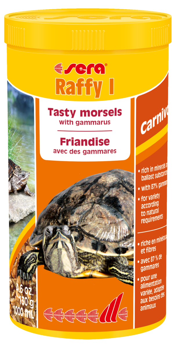Корм для рептилий Sera Raffy I, 1 л (130 г)0120710Корм Sera Raffy I - это сбалансированный корм для плотоядных рептилий (водных черепах, ящериц), приготовленный из натурального живого корма методом лиофильной сушки, то есть изготовлен из кормовых организмов, высушенных целиком. Корм включает смесь мелких ракообразных, креветок, моллюсков, личинок, насекомых и муравьиных яиц. Подходит в качестве дополнения к рациону. Лакомство богато минералами, микроэлементами и балластными веществами. Инструкция по применению: Кормить экономно, несколько раз в неделю, между основными кормлениями. Ингредиенты: мелкие рачки, мелкие моллюски, личинки мух, яйца муравьев. Состав: протеин 48,7%, жиры 7,5%, клетчатка 5,3%, зольные вещества 17,1%, кальций 3,9%.Товар сертифицирован.