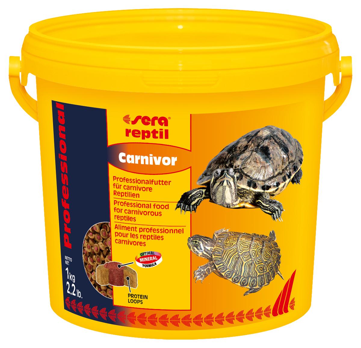 Корм для рептилий Sera Reptil Professional Carnivor, 3,8 л (1 кг)130.4.021Корм для рептилий Sera Reptil Professional Carnivor - комплексный корм для водных черепах и других плотоядных рептилий, произведенный методом коэкструзии. Инновационный коэкструдат объединяет в себе вкусную оболочку - кольцо, в котором содержатся высококачественные белки и жиры, и сердцевину, произведенную с помощью щадящего низкотемпературного процесса, сохраняющего ценные питательные вещества, с высоким содержанием необходимых витаминов, минералов и других жизненно важных веществ. Оптимальное соотношение кальция и фосфора обеспечивает здоровый рост костей и панциря животных. Инструкция по применению: Кормить экономно. Смешать со свежим кормом в соответствии с потребностями животных. Ингредиенты: рыбная мука, кукурузный крахмал, пшеничная клейковина, пшеничная мука, пивные дрожжи, цельный яичный порошок, рыбий жир, гаммарус, морские водоросли, зеленые мидии, криль, чеснок. Аналитический состав: протеин 37,4%, жиры 6,2%, клетчатка 5,6%, влажность 5,2%, зольные вещества 7,5%, кальций 2,0%, фосфор 1,0%.Витамины и провитамины: витамин A 37.000 МЕ/кг, витамин D3 1.800 МЕ/кг, витамин E (D, L-а-tocopheryl acetate) 120 мг/кг, витамин B1 35 мг/кг, витамин B2 90 мг/кг, витамин C (L-ascorbyl monophosphate) 550 мг/кг. Микроэлементы: Fe (E1) 10,9 мг/кг, Cu (E4) 0,5 мг/кг, Mn (E5) 0,3 мг/кг, Zn (E6) 10,4 мг/кг. Содержит пищевые красители, допустимые в ЕС. Товар сертифицирован.