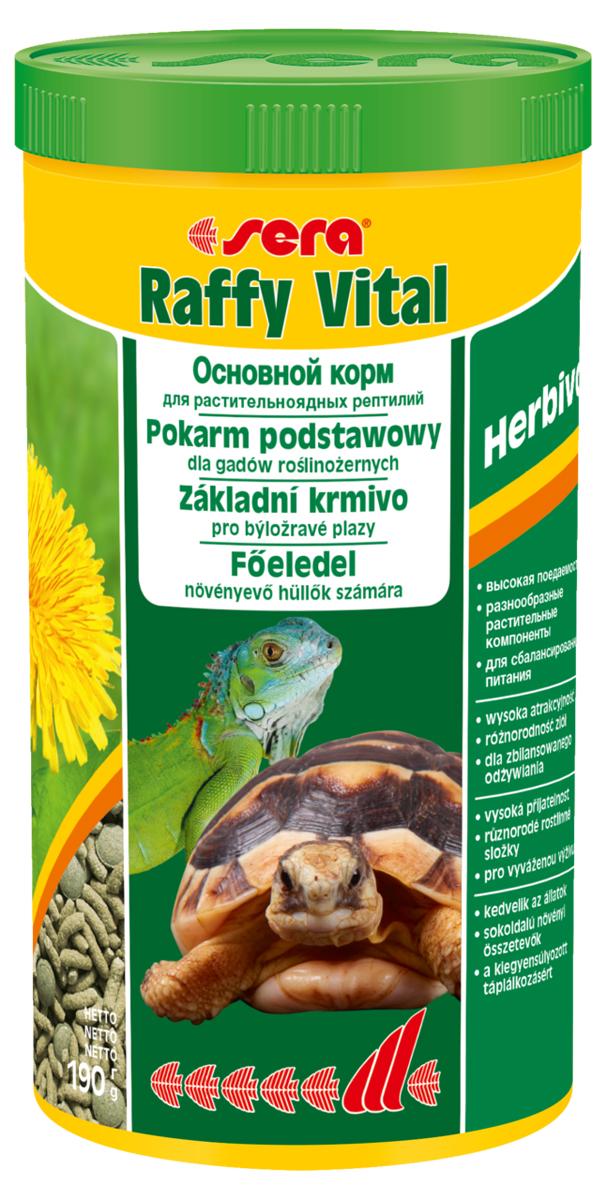 Корм для рептилий Sera Raffy Vital, 1 л (190 г)0120710Корм для рептилий Sera Raffy Vital - это смешанный корм для сухопутных черепах и других растительноядных рептилий. Вкусная и богатая балластным веществом смесь из кормовых палочек и травяных таблеток оптимально удовлетворяет потребностям животных. Тщательно сбалансированное содержание витаминов и минералов укрепляет устойчивость к болезням и способствует здоровому росту костей и панциря. Инструкция по применению: Кормить экономно, ежедневно. Корм может подаваться в промежутках между кормлениями в сухом виде или увлажненный водой, а также его можно смешивать со свежим кормом (например, салат ромэн, одуванчик, крапива). Ингредиенты: кукурузный крахмал, пшеничная мука, растительное сырье, люцерна, рыбная мука, пшеничная клейковина, морские водоросли, крапива, пивные дрожжи, морковь, петрушка, спирулина, паприка, цельный яичный порошок, гаммарус, рыбий жир, сахар, шпинат, зеленые мидии, чеснок. Аналитический состав: протеин 18,1%, жиры 3,4%, клетчатка 9,3%, влажность 4,5%, зольные вещества 8,0%, кальций 1,5%, фосфор 0,6%.Витамины и провитамины: витамин A 24.000 МЕ/кг, витамин D3 1.200 МЕ/кг, витамин E (D, L-?-tocopheryl acetate) 48 мг/кг, витамин B1 24 мг/кг, витамин B2 72 мг/кг, витамин C (L-ascorbyl monophosphate) 440 мг/кг. Микроэлементы: Fe (E1) 25,0 мг/кг, Cu (E4) 1,3 мг/кг, Mn (E5) 1,3 мг/кг, Zn (E6) 24,9 мг/кг. Товар сертифицирован.