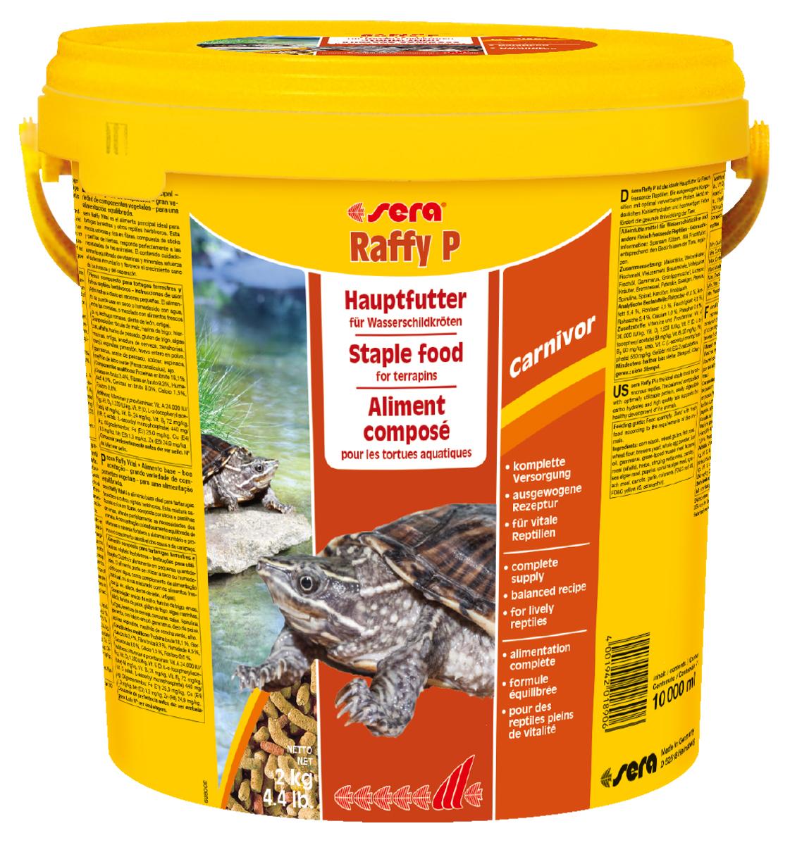 Корм для рептилий Sera Raffy P, 10 л (2 кг)0120710Корм для рептилий Sera Raffy P - комплексный корм для водных черепах, ящериц и других плотоядных рептилий. Сбалансированный состав с оптимальным содержанием легко усваиваемых белков и углеводов, а также высококачественных жиров способствует здоровому развитию животных. Эти вкусные палочки содержат все необходимые ингредиенты, а также дополнительное количество кальция.Инструкция по применению: Кормить экономно. Смешать со свежим кормом в соответствии с потребностями животных. Ингредиенты: кукурузный крахмал, пшеничная клейковина, рыбная мука, пшеничная мука, пивные дрожжи, цельный яичный порошок, рыбий жир, гаммарус, зеленые мидии, люцерна, растительное сырье, крапива, петрушка, морские водоросли, паприка, спирулина, шпинат, морковь, чеснок. Аналитический состав: протеин 41,0%, жиры 5,4%, клетчатка 4,5%, влажность 4,0%, зольные вещества 5,4%, кальций 1,0%, фосфор 0,6%.Витамины (на 1 кг): А 30000 МЕ, D3 15000 МЕ, Е 60 мг, В1 30 мг, В2 90 мг, С 550 мг. Товар сертифицирован.