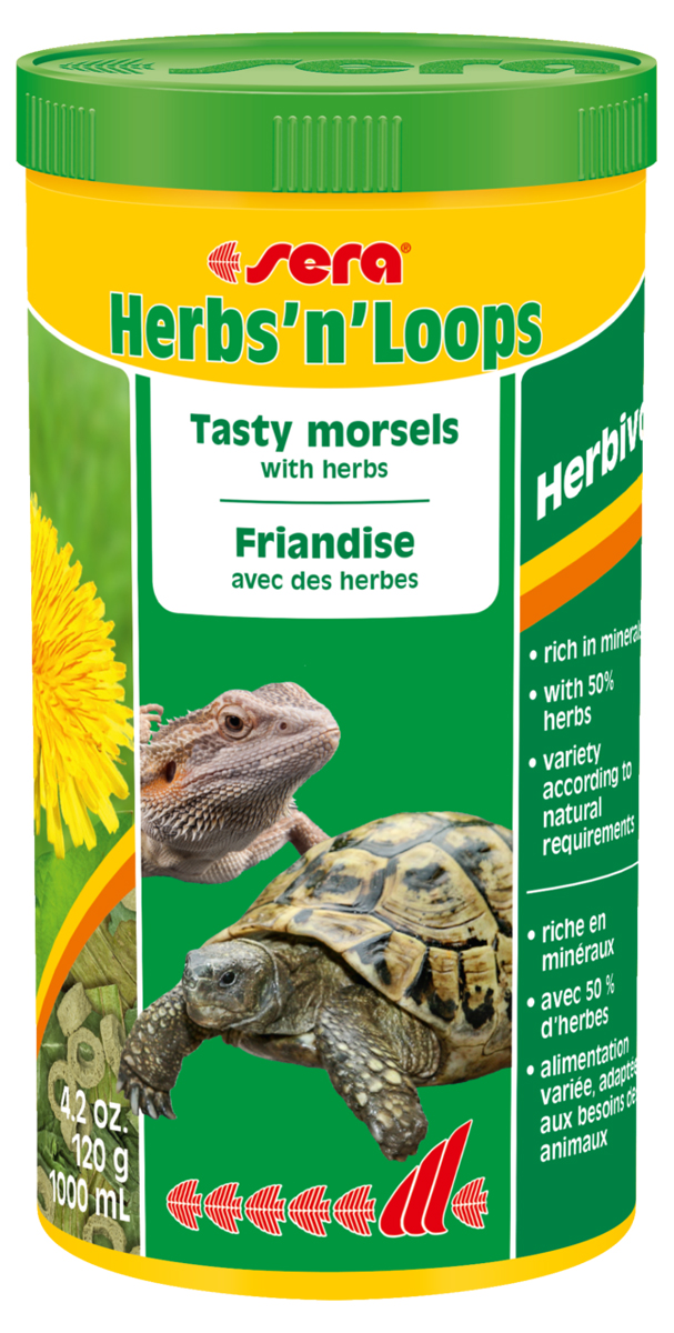 Корм для рептилий Sera HerbsnLoops, 1 л (120 г)0413Корм для рептилий Sera HerbsnLoops - деликатесный корм, состоящий из смеси высушенных трав (50%) и колечек, произведенных путем бережной обработки сырья. Предназначен для сухопутных черепах и всех других видов растительноядных рептилий. Травы богаты микроэлементами и вторичными растительными веществами и соответствуют естественным пищевым потребностям животных. Включенные в смесь колечки, богатые ценными питательными веществами, витаминами и минералами, делают корм полностью сбалансированным, оптимально удовлетворяющим пищевые потребности животных. Регулярное добавление в рацион питания этого привлекательного для рептилий деликатесного корма способствует полноценному развитию рептилий, их устойчивости к заболеваниям и жизнестойкости. Ингредиенты: травы (50%) (листья одуванчика, листья подорожника), кукурузный крахмал, пшеничная мука, рыбная мука, пшеничная клейковина, пивные дрожжи, травы, люцерна, крапива, петрушка, спирулина, гаммарус, рыбий жир, морские водоросли, паприка, шпинат, морковь, зеленые мидии, чеснок. Витамины и провитамины: витамин A 15.000 МЕ/кг, витамин D3 750 МЕ/кг, витамин E (D, L-а-tocopheryl acetate) 30 МЕ/кг, витамин B1 15 мг/кг, витамин B2 45 мг/кг, витамин C (L-ascorbyl monophosphate) 275 мг/кг. Товар сертифицирован.