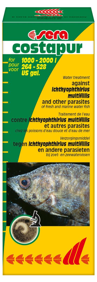 Средство для воды Sera Costapur, 100 мл0120710Средство для воды Sera Costapur действует против ихтиофтириоза (белые точки) и других кожных паразитов, таких как костия, хилодонелла и триходина, для пресноводной и морской рыбы. В случае заражения ихтиофтириозом бесчешуйчатые рыбы (такие как вьюновые и сомы), а также ослабленные рыбы подвергаются особо высокой опасности. Органические (например, гуминовые кислоты) и неорганические (например, формирующие жесткость) вещества в аквариумной воде могут влиять на эффективность лечения. Поэтому рекомендуется произвести частичную подмену воды перед началом лечения.