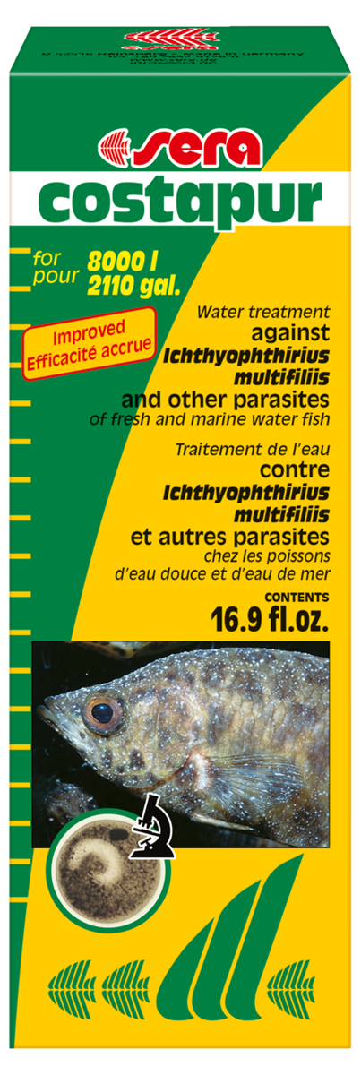Средство для воды Sera Costapur, 500 мл12171996Средство для воды Sera Costapur действует против ихтиофтириоза (белые точки) и других кожных паразитов, таких как костия, хилодонелла и триходина, для пресноводной и морской рыбы. В случае заражения ихтиофтириозом бесчешуйчатые рыбы (такие как вьюновые и сомы), а также ослабленные рыбы подвергаются особо высокой опасности. Органические (например, гуминовые кислоты) и неорганические (например, формирующие жесткость) вещества в аквариумной воде могут влиять на эффективность лечения. Поэтому рекомендуется произвести частичную подмену воды перед началом лечения.