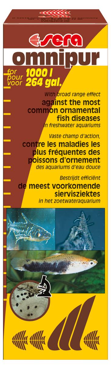 Средство для воды Sera Omnipur, 50 мл1031Средство для воды Sera Omnipur эффективно против распространенных заболеваний рыб в пресноводных аквариумах: бактериальные инфекции, гниение плавников, грибковые инфекции (Saprolegnia, Achlya), налет на коже (Costia, Chilodonella), триходиниоз, оодиниоз, жаберные и кожные черви (Dactylogyrus или Gyrodactylus), кожные ранения.50 мл достаточно для обработки 1000 литров воды.