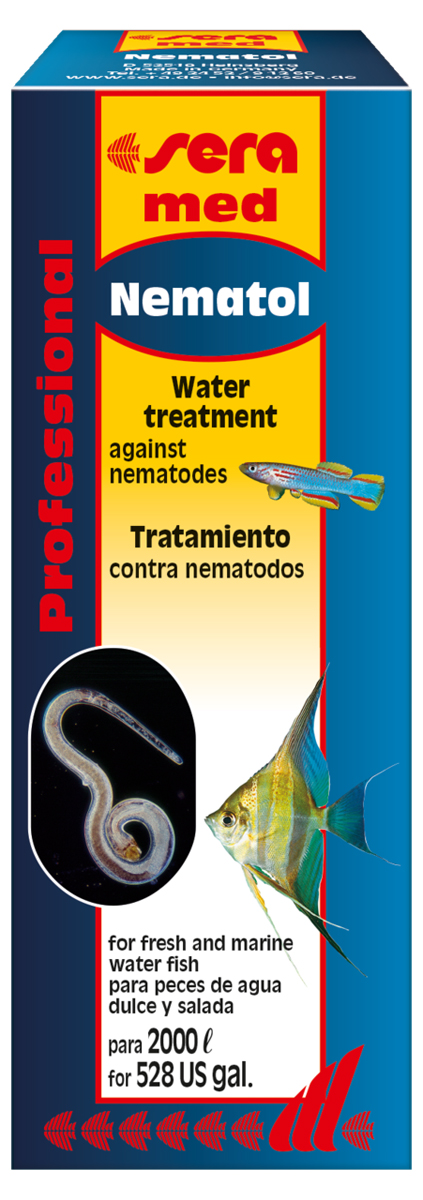 Средство для воды Sera Nematol, 50 мл0120710Средство для воды Sera Nematol - специализированное лекарство для пресноводных и морских рыб против нематод, таких как Camallanus, круглых червей (Capillaria) и дискусных остриц. Заражение этими паразитами легко и безопасно устраняет высокоэффективное средство Sera Nematol. Оно действует как против самих паразитов, так и против маленьких веслоногих рачков, которых Camallanus используют как промежуточных хозяев. Повторное применение средства понадобится через 3 недели для устранения вылупившихся за это время личинок. Использовать средство особенно легко, так как к флакону прилагается измерительный стаканчик для точного дозирования.